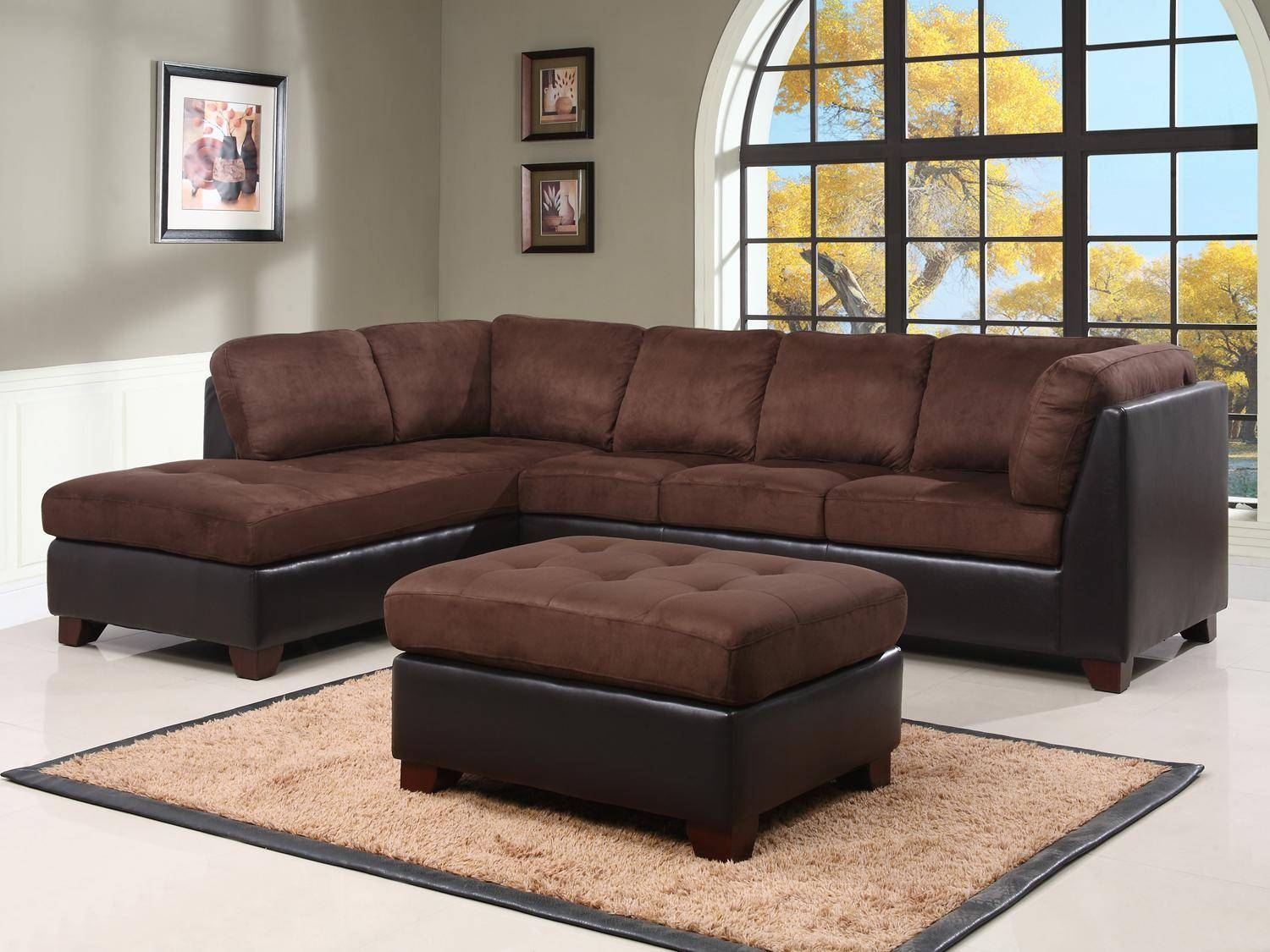 Top Sofa And Ottoman With Image 9 Of 15 | Carehouse for Abbyson Living Charlotte Dark Brown Sectional Sofa and Ottoman (Image 27 of 30)
