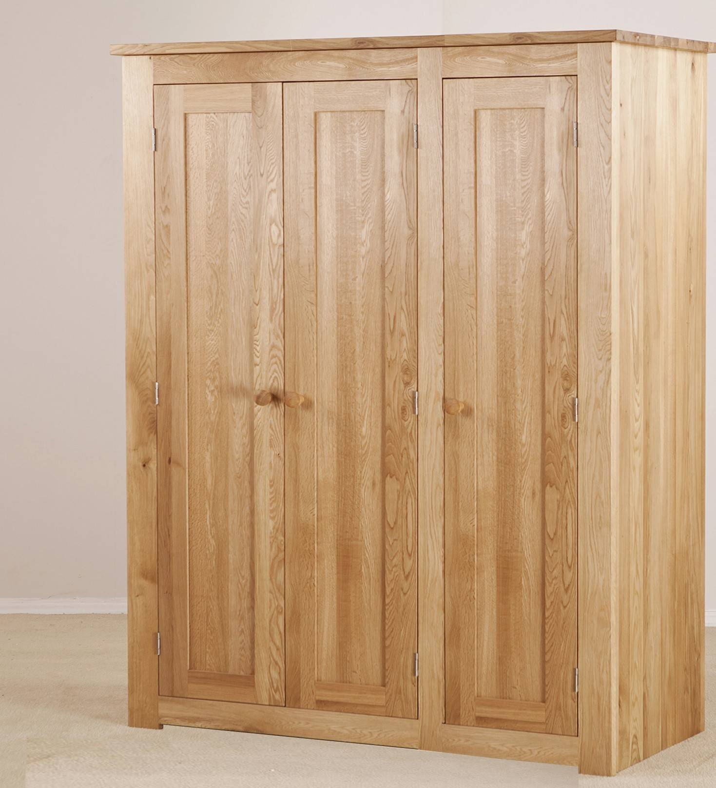 Torino Solid Oak Large 3 Door Wardrobe | Furniture4Yourhome in Large Oak Wardrobes (Image 13 of 15)