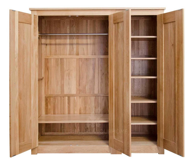 Torino Solid Oak Large 3 Door Wardrobe | Furniture4Yourhome throughout Oak 3 Door Wardrobes (Image 15 of 15)