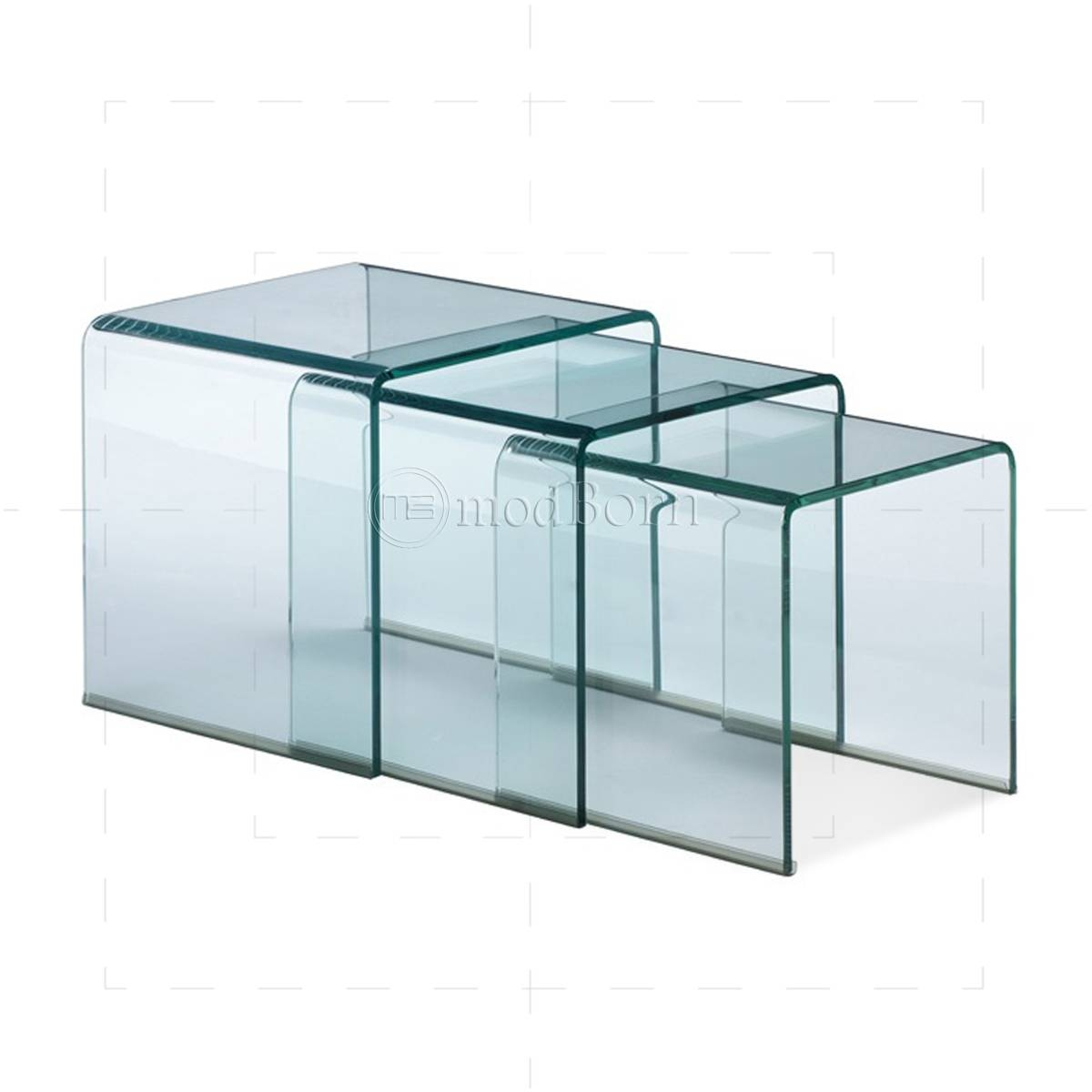 Toughened Glass Nest Of 3 Coffee Side Tables Clear intended for Transparent Glass Coffee Tables (Image 28 of 30)