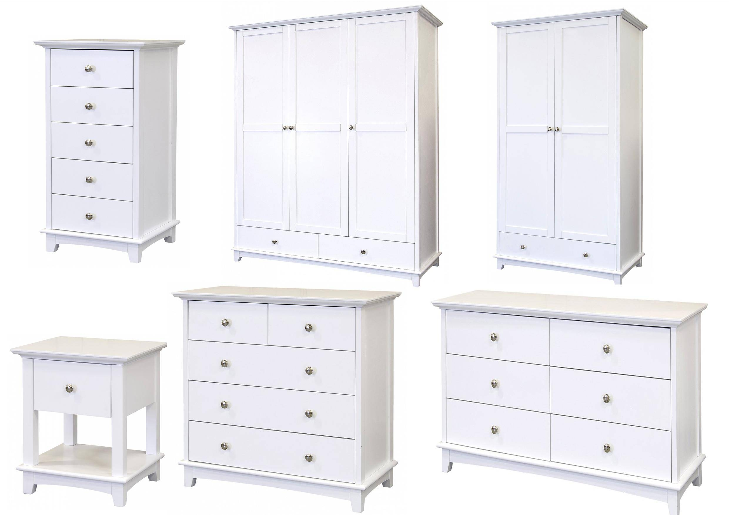 Toulouse White Painted Bedroom Furniture - Bedside, Chest Of for White Painted Wardrobes (Image 12 of 15)