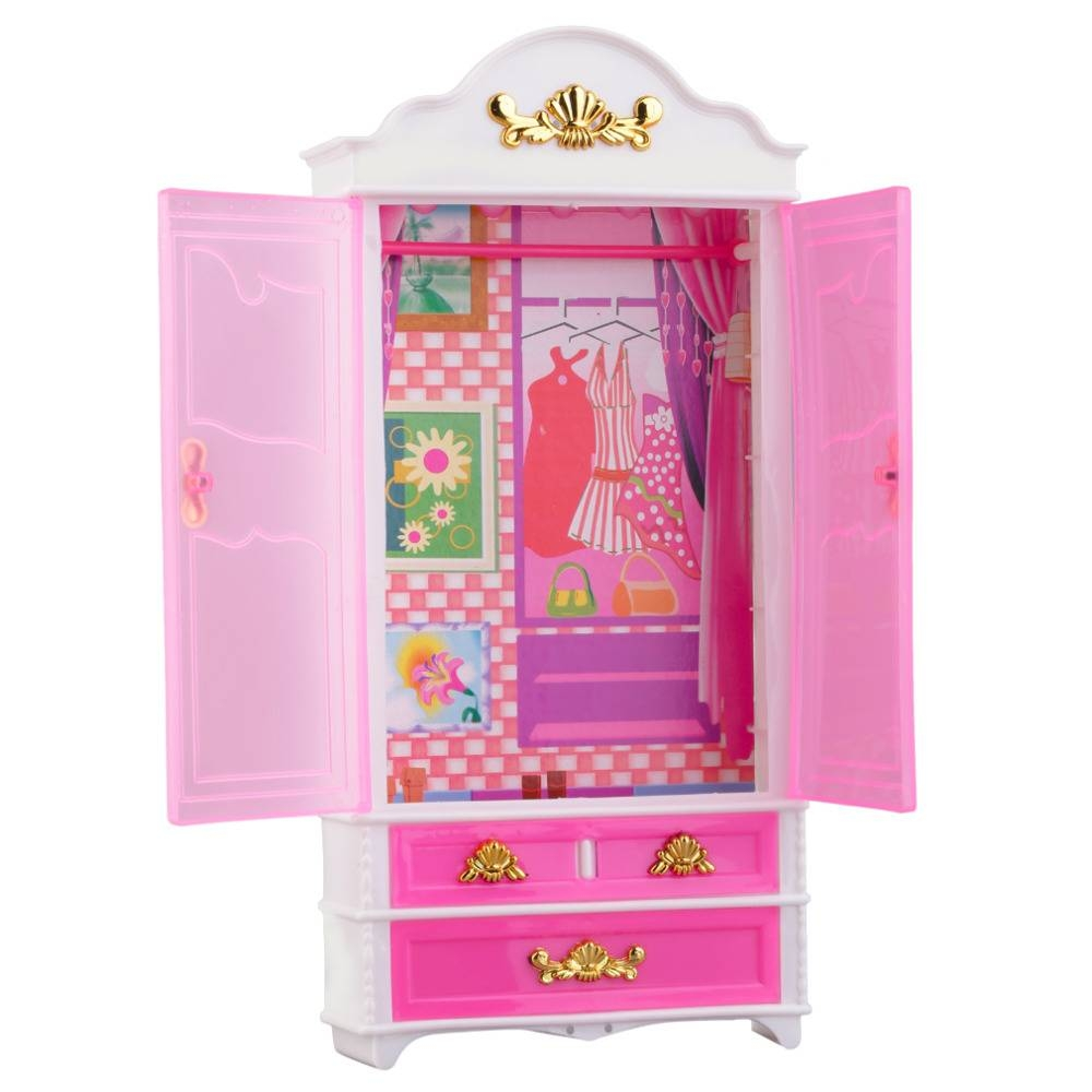 Toys Pink Closet Wardrobe For Princess Doll House Bedroom inside The Princess Wardrobes (Image 14 of 15)