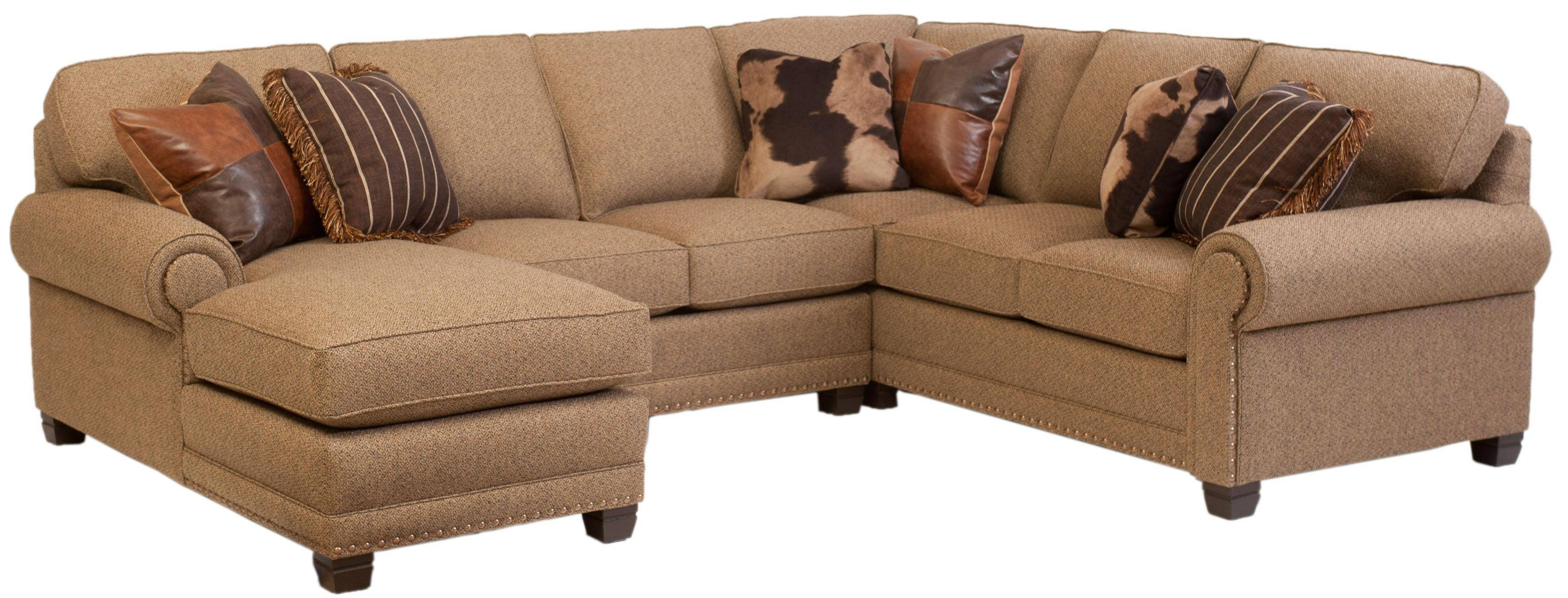 Traditional 3-Piece Sectional Sofa With Left-Arm-Facing Chaise inside Traditional Sectional Sofas Living Room Furniture (Image 17 of 25)