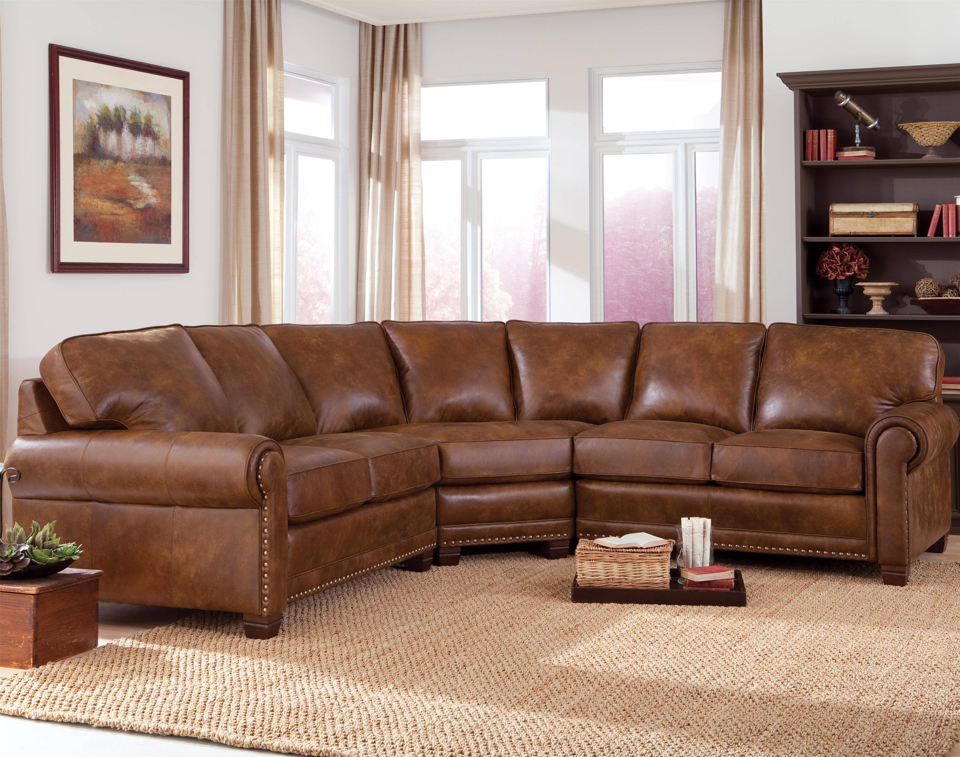 Traditional 3-Piece Sectional Sofa With Nailhead Trimsmith within Traditional Sectional Sofas (Image 18 of 25)