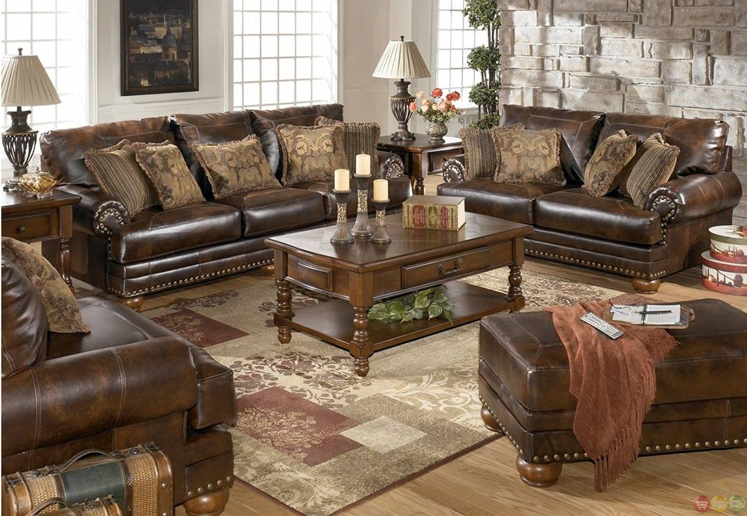 Traditional Brown Bonded Leather Sofa Loveseat Chair Ottoman 4Pc within Sofa Loveseat And Chairs (Image 29 of 30)
