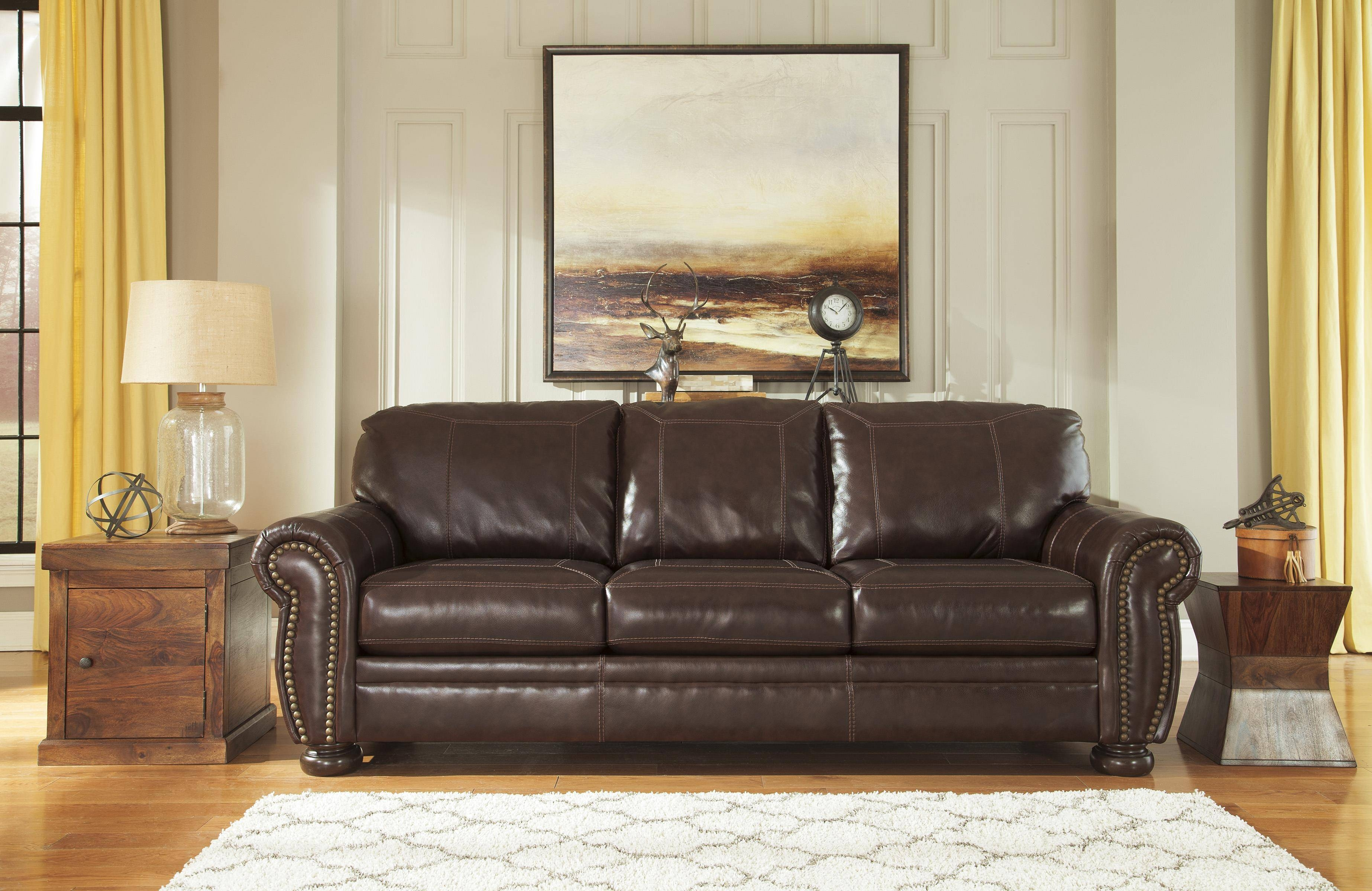 Traditional Leather Match Sofa With Rolled Arms, Nailhead Trim regarding Traditional Leather Couch (Image 20 of 30)