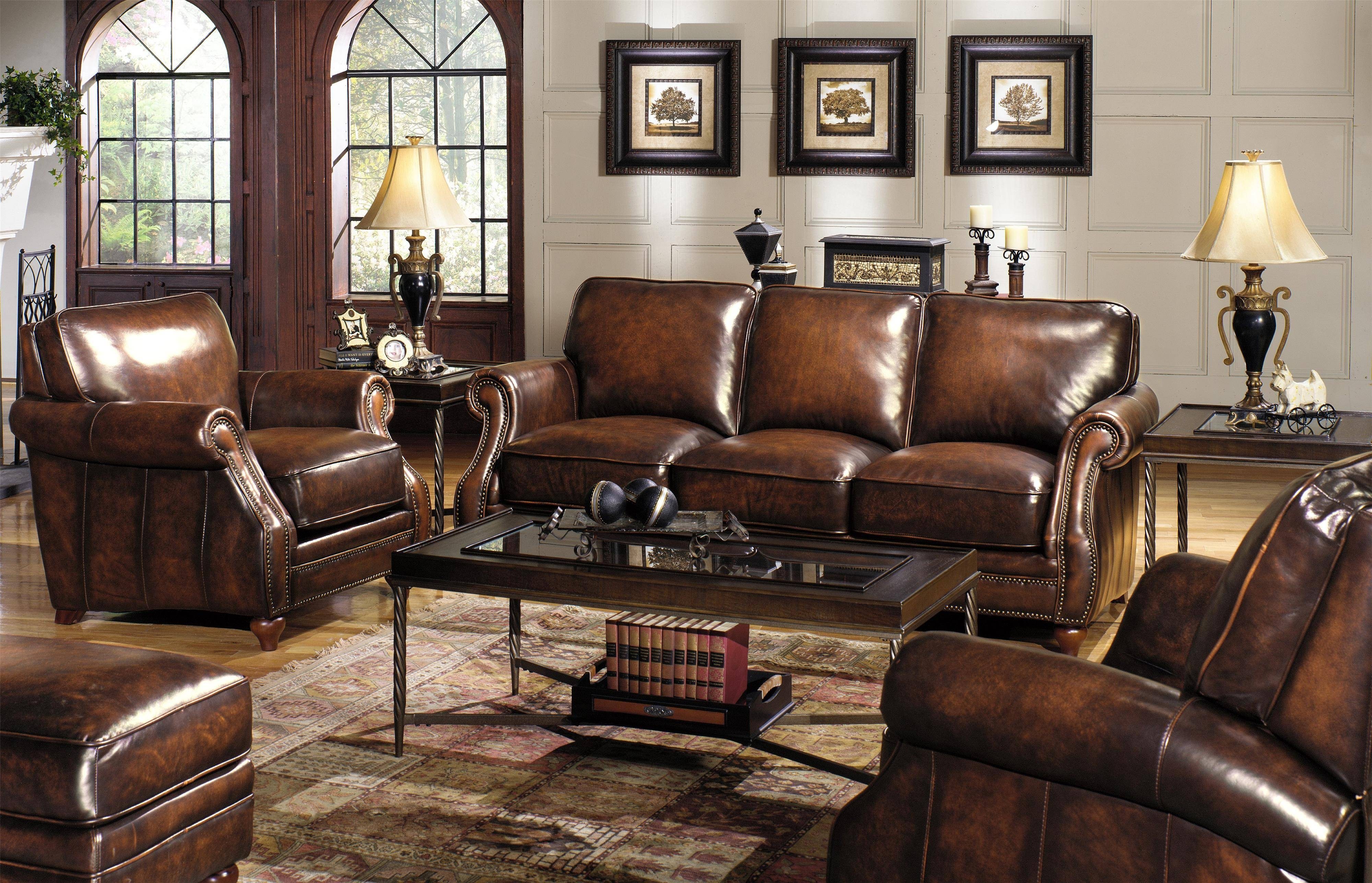 Traditional Leather Sofa With Rolled Arms And Nailhead Trim intended for Traditional Leather Couch (Image 22 of 30)