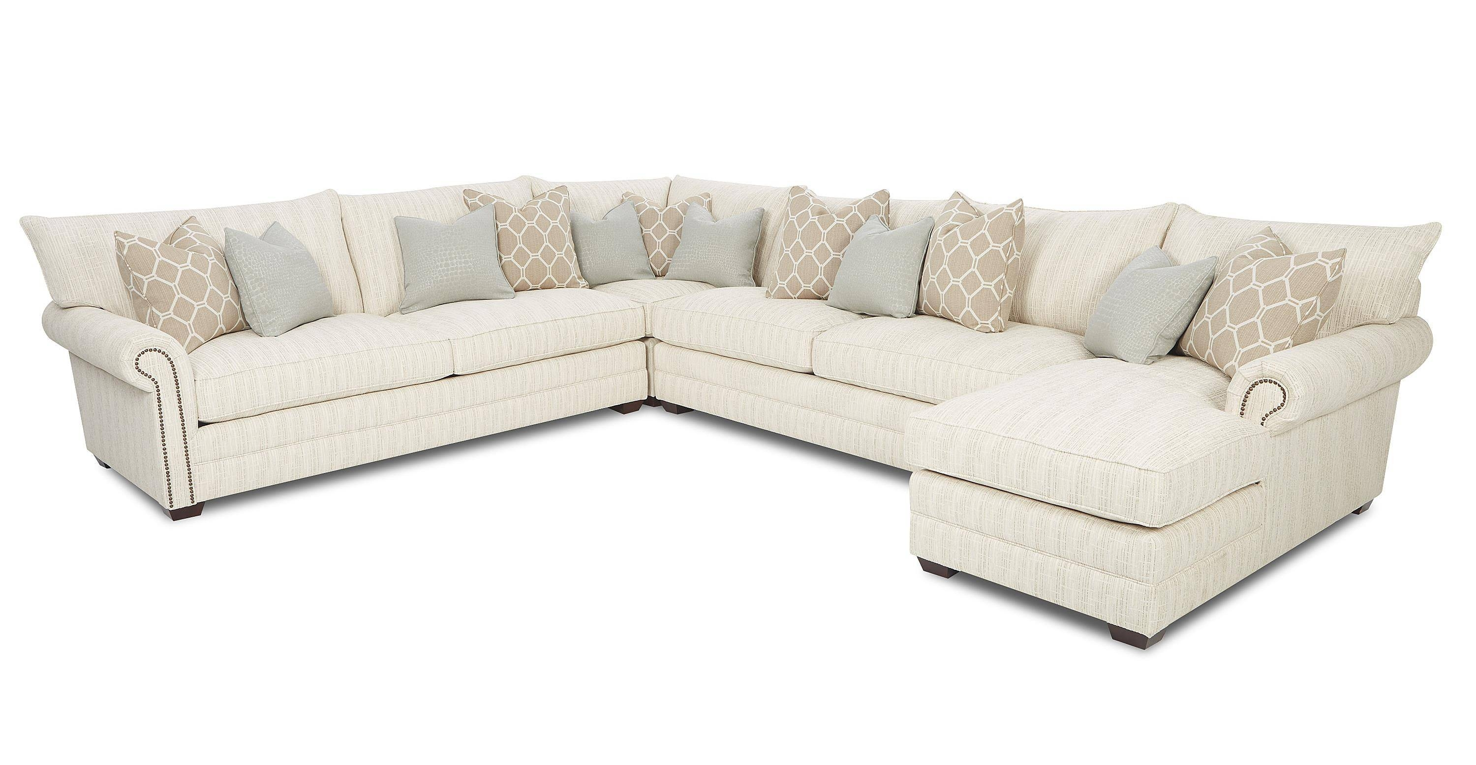 Traditional Sectional Sofa With Nailhead Trim And Chaise Lounge pertaining to Traditional Sectional Sofas Living Room Furniture (Image 20 of 25)