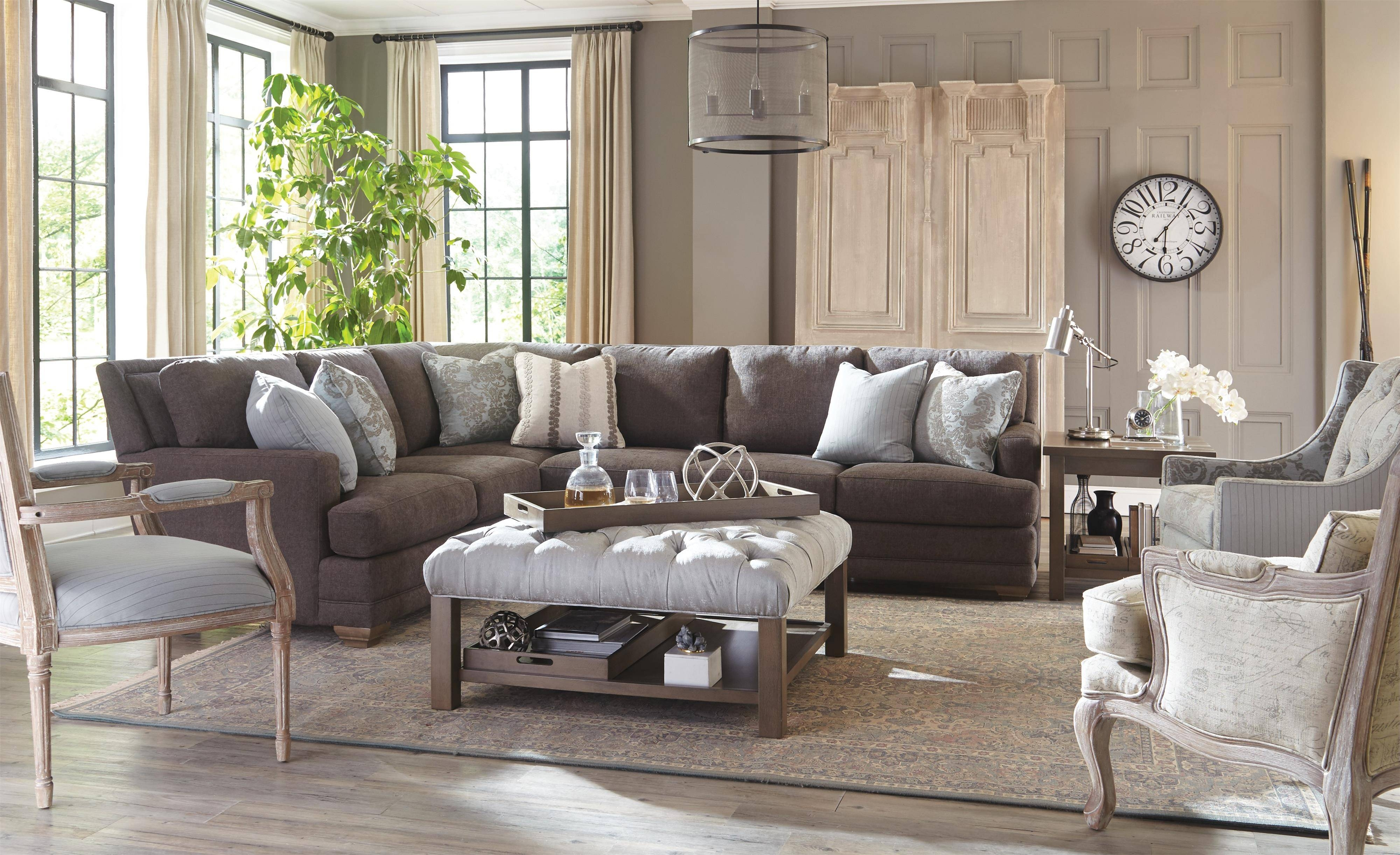 Traditional Sectional Sofa With Toss Pillowscraftmaster | Wolf throughout Traditional Sectional Sofas (Image 19 of 25)