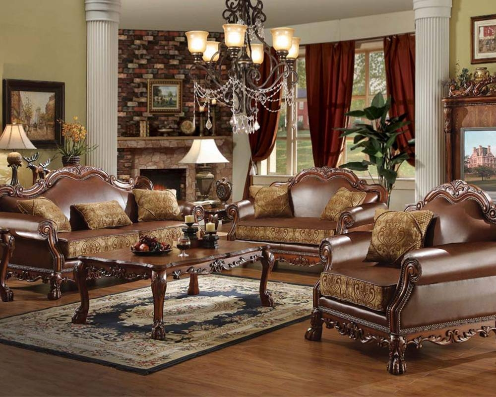 Traditional Sofa Set Dresdenacme Furniture Ac15160Set inside Traditional Leather Couch (Image 26 of 30)