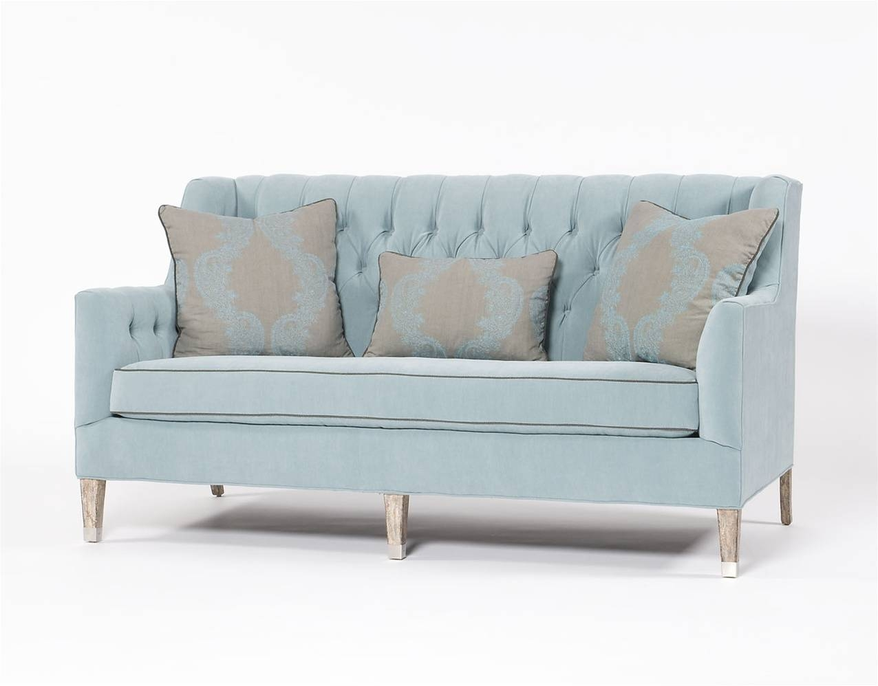 Traditional Sofa Tufted Blue Three Person Couch for Blue Tufted Sofas (Image 29 of 30)