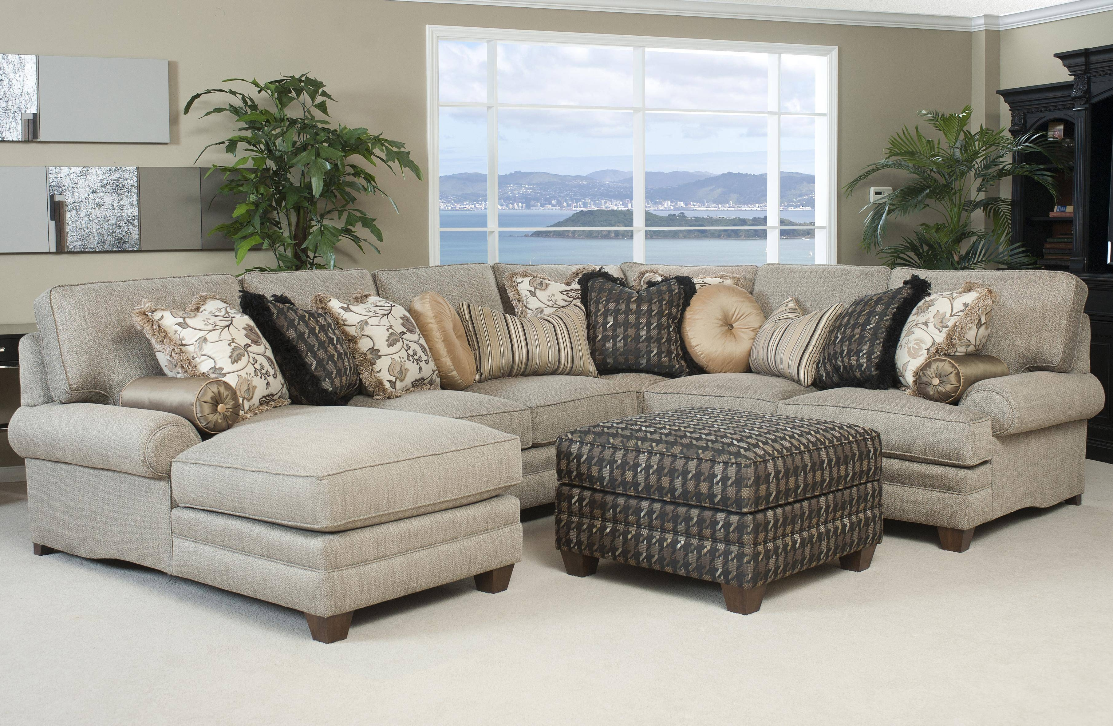 Traditional Styled Sectional Sofa With Comfortable Pillowed Seat inside Traditional Sectional Sofas (Image 24 of 25)