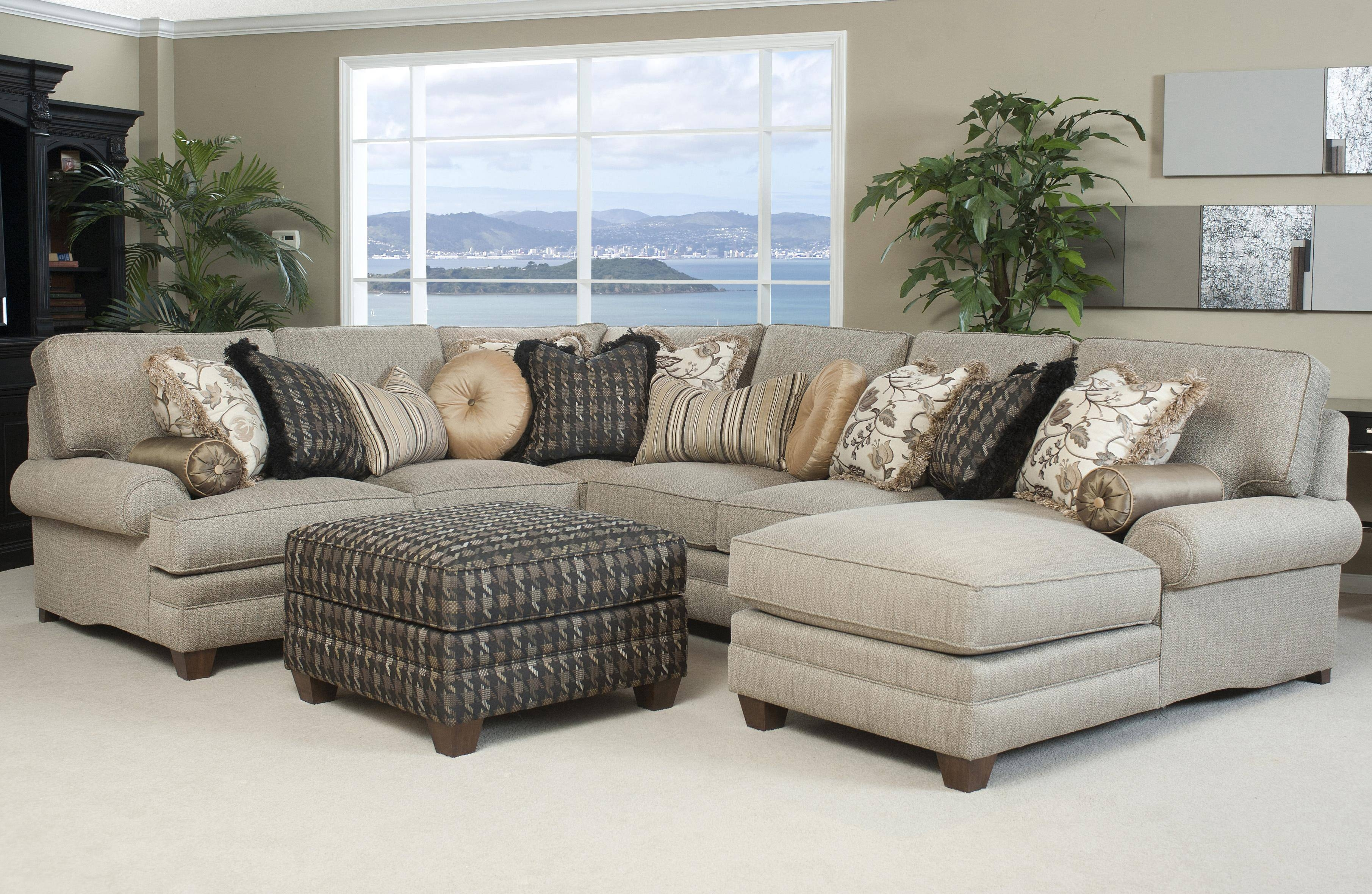 Traditional Styled Sectional Sofa With Comfortable Pillowed Seat within Large Comfortable Sectional Sofas (Image 25 of 25)