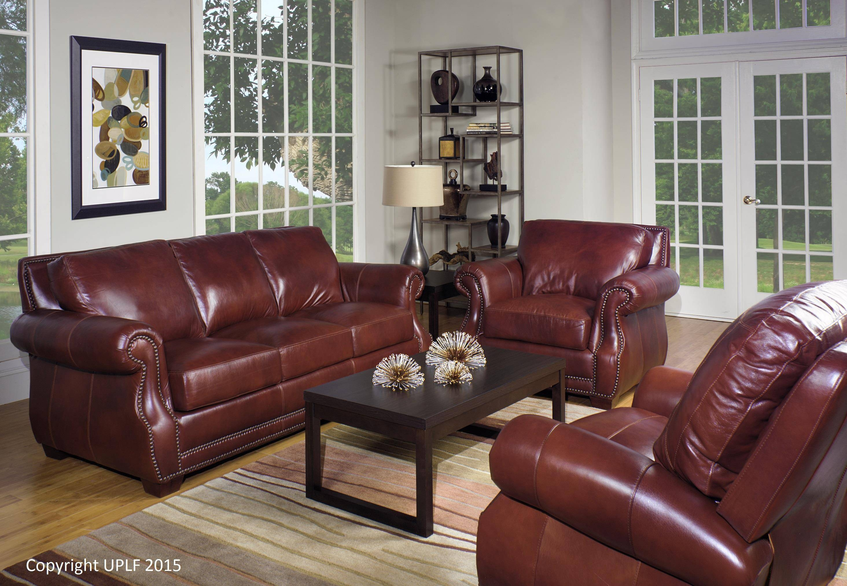 Traditional Top Grain Leather Sofa With Nailhead Trimusa with regard to Traditional Leather Couch (Image 27 of 30)