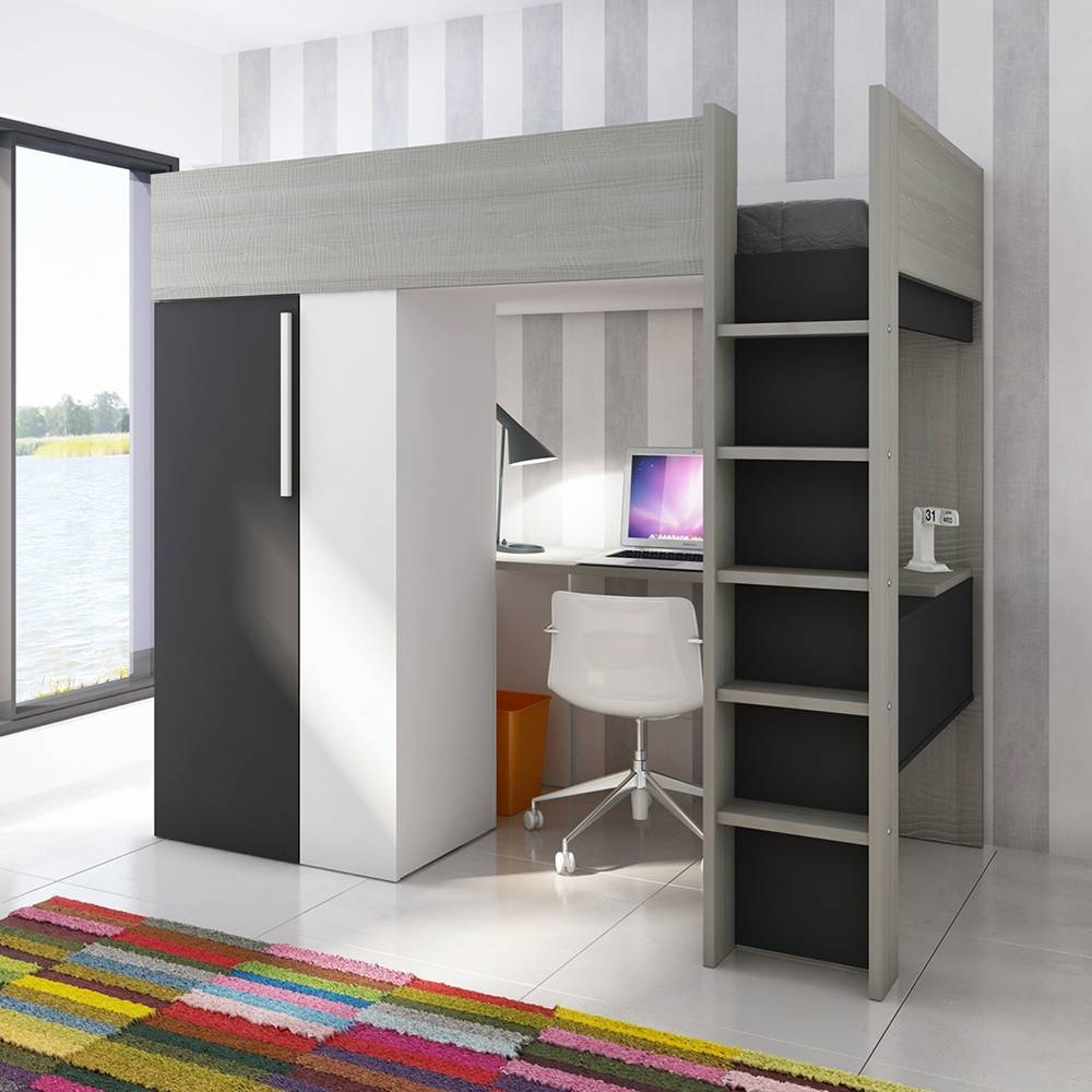 Trasman - Studio Highsleeper With Wardrobe And Desk - Charcoal within High Sleeper Wardrobes (Image 14 of 15)