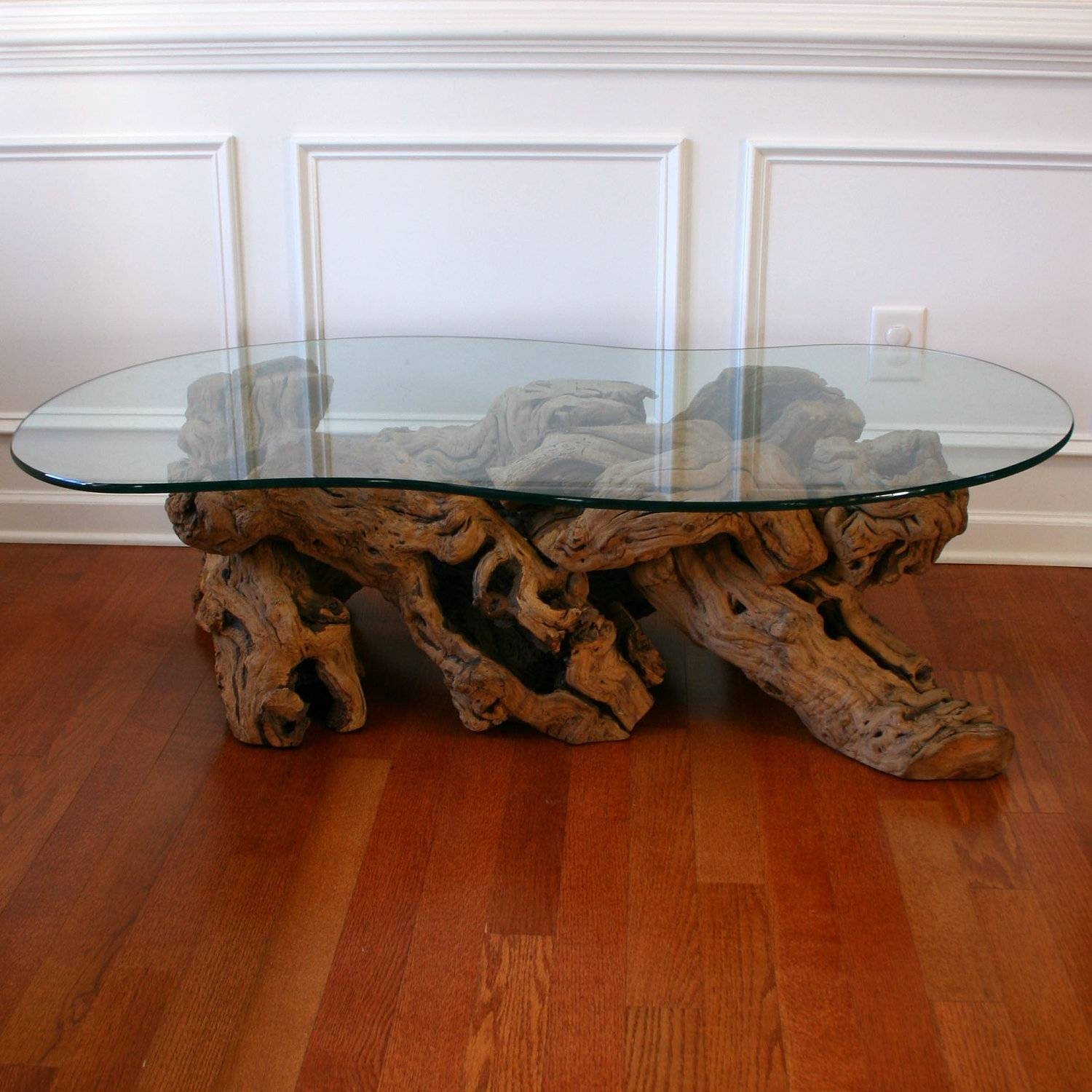 Tree Base Glass Top Coffee Table | Coffee Tables Decoration in Dark Wood Coffee Tables With Glass Top (Image 30 of 30)