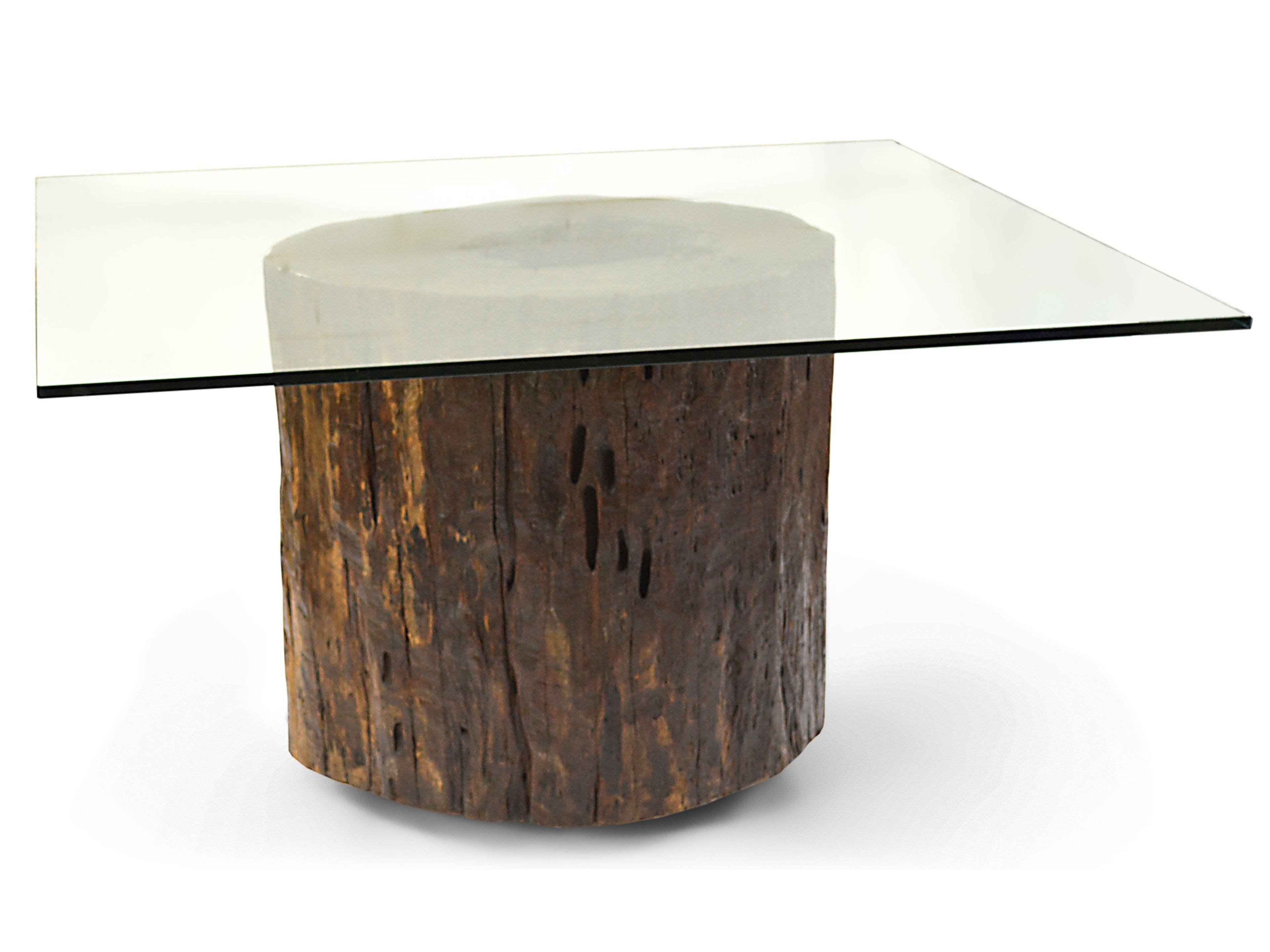 Tree Base Glass Top Coffee Table | Coffee Tables Decoration in Round Pine Coffee Tables (Image 29 of 30)