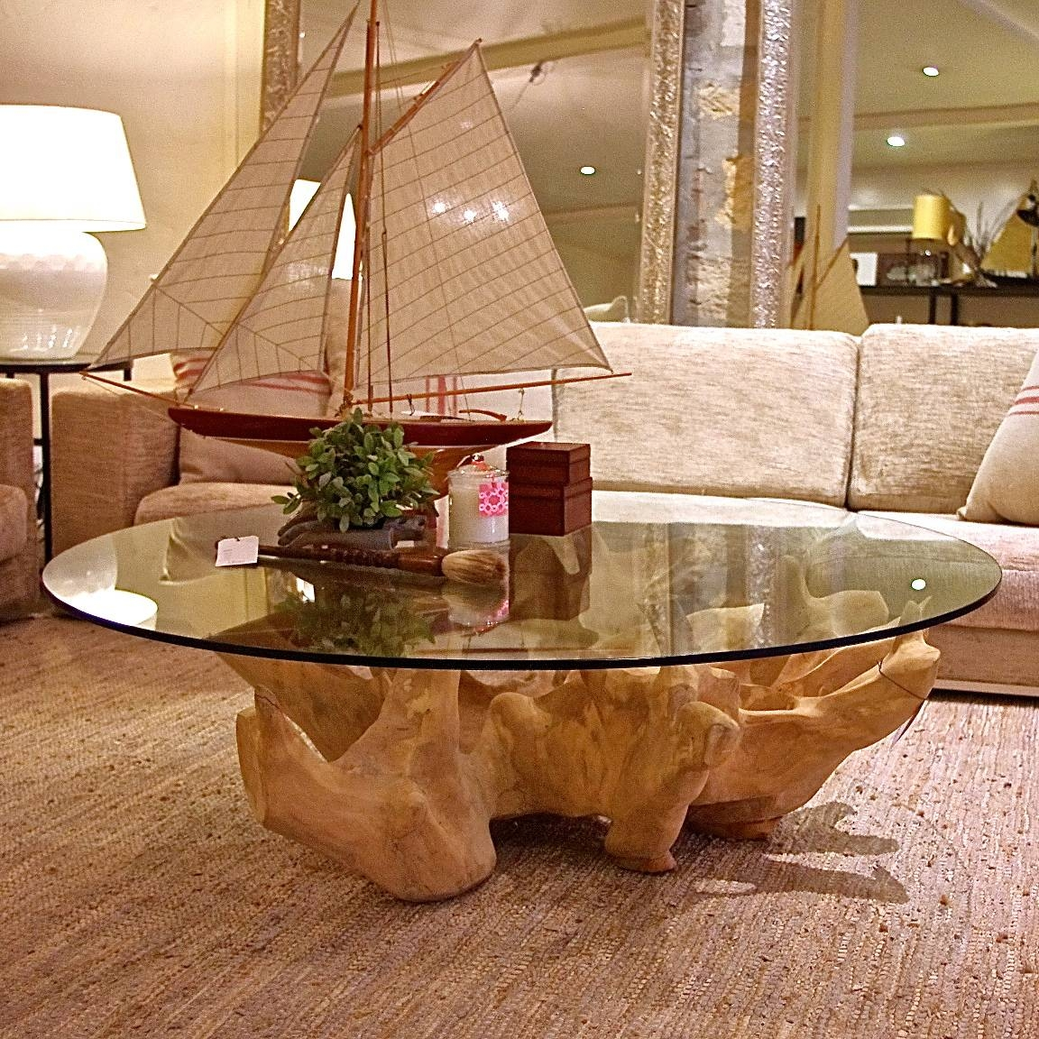Tree Trunks Coffee Table With Top Glass : Guideline To Make A with Trunk Coffee Tables (Image 27 of 30)