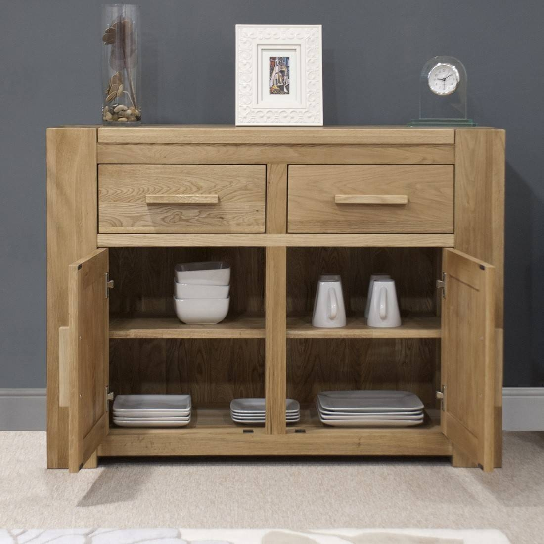 Trend Solid Oak Small 2 Door Sideboard | Oak Furniture Uk regarding Small Wooden Sideboards (Image 29 of 30)