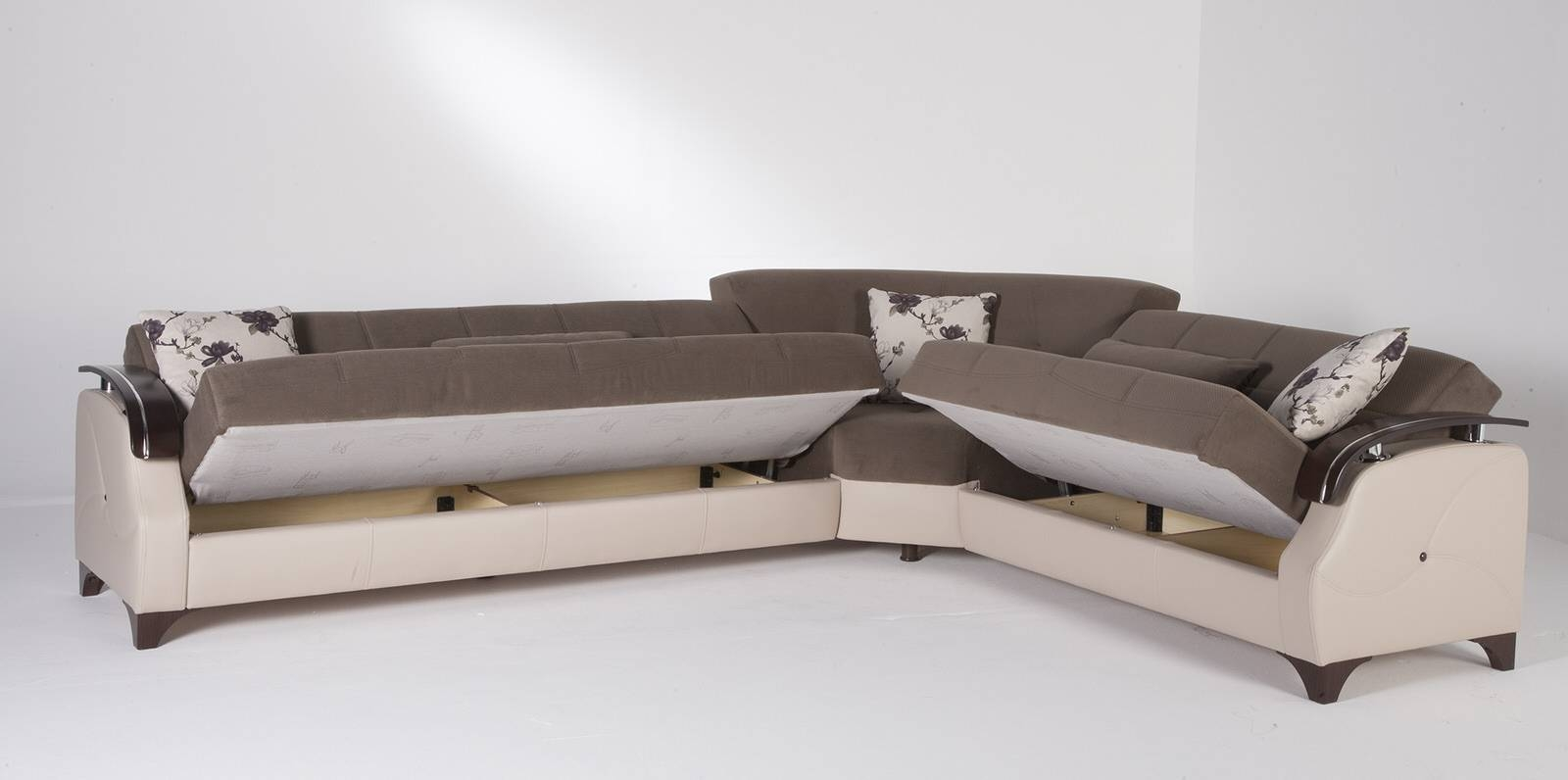 Trento Selen Brown Sectional Sofasunset intended for Sectional Sofa Beds (Image 27 of 30)