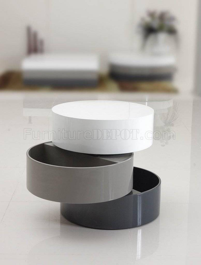 Tri-Tone Finish Modern End Table W/swivel Parts inside Round Swivel Coffee Tables (Image 29 of 30)