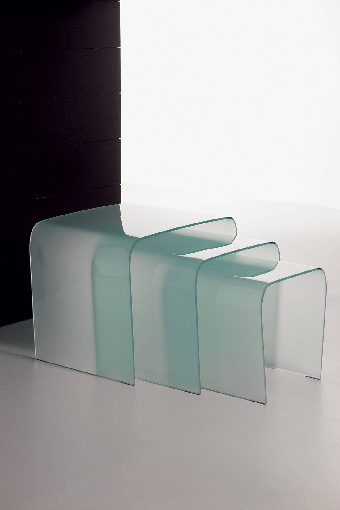 Triade Set Of Three Curved Glass Coffee Tables | Shop Online throughout Curved Glass Coffee Tables (Image 28 of 30)