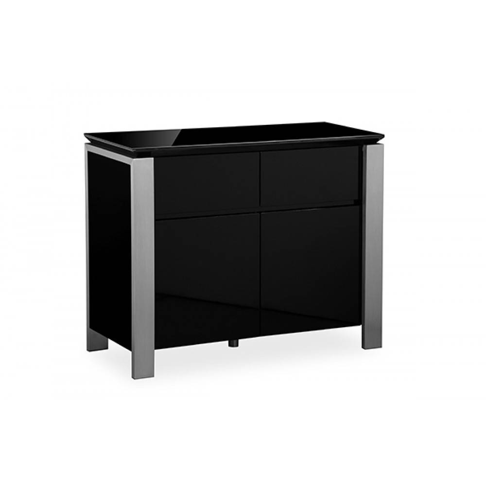 Tribeca Black High Gloss Sideboard Brushed Steel Trim with Black High Gloss Sideboards (Image 30 of 30)