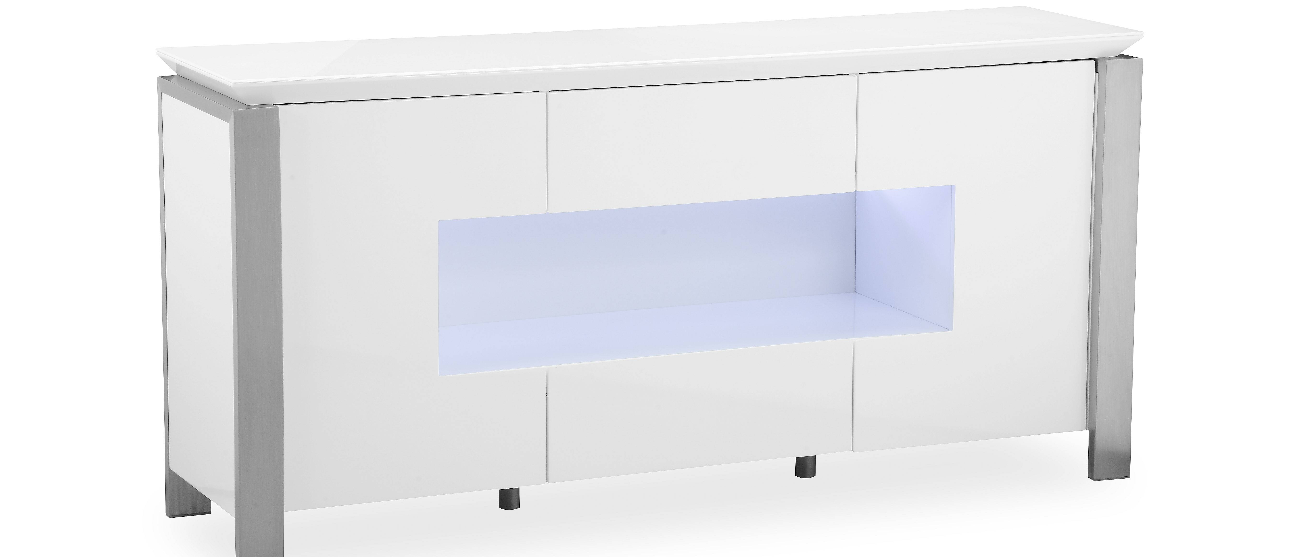 Tribeca - L.e.d. Display Sideboard - White High Gloss inside High Gloss Sideboards (Image 30 of 30)