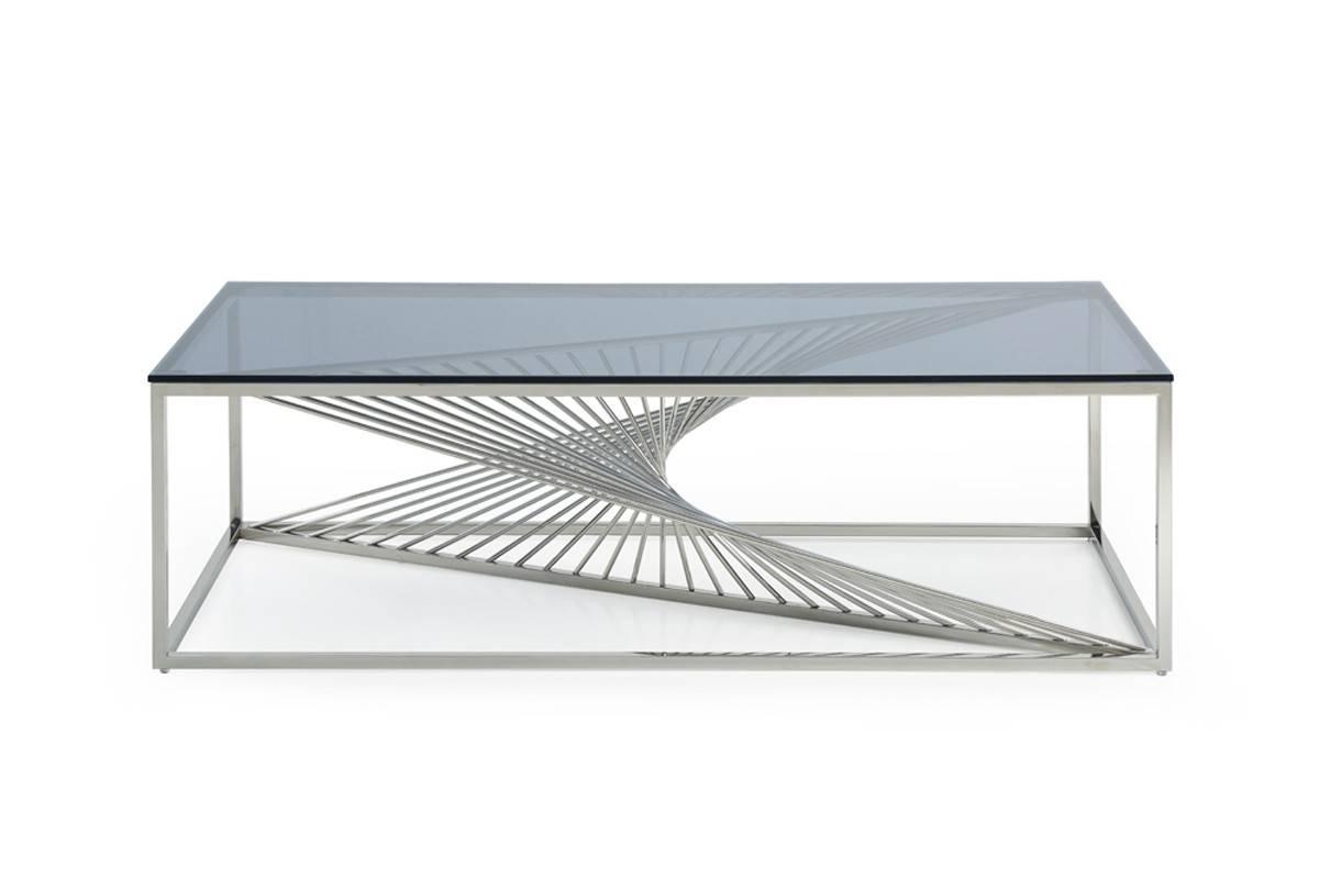 Trinity Modern Glass & Stainless Steel Coffee Table throughout Glass Steel Coffee Tables (Image 30 of 30)