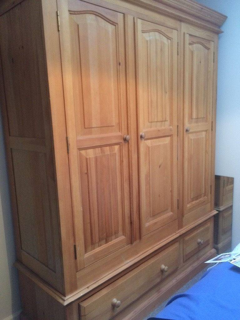 Triple Pine Wardrobe With Drawers And Shelves | In Clevedon intended for Pine Wardrobe With Drawers and Shelves (Image 29 of 30)