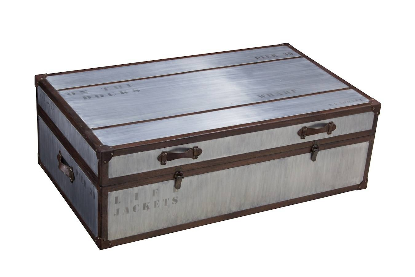 Trunk Coffee Table Lift Top Leather Handles Engineered Wood Chests for Large Trunk Coffee Tables (Image 27 of 30)