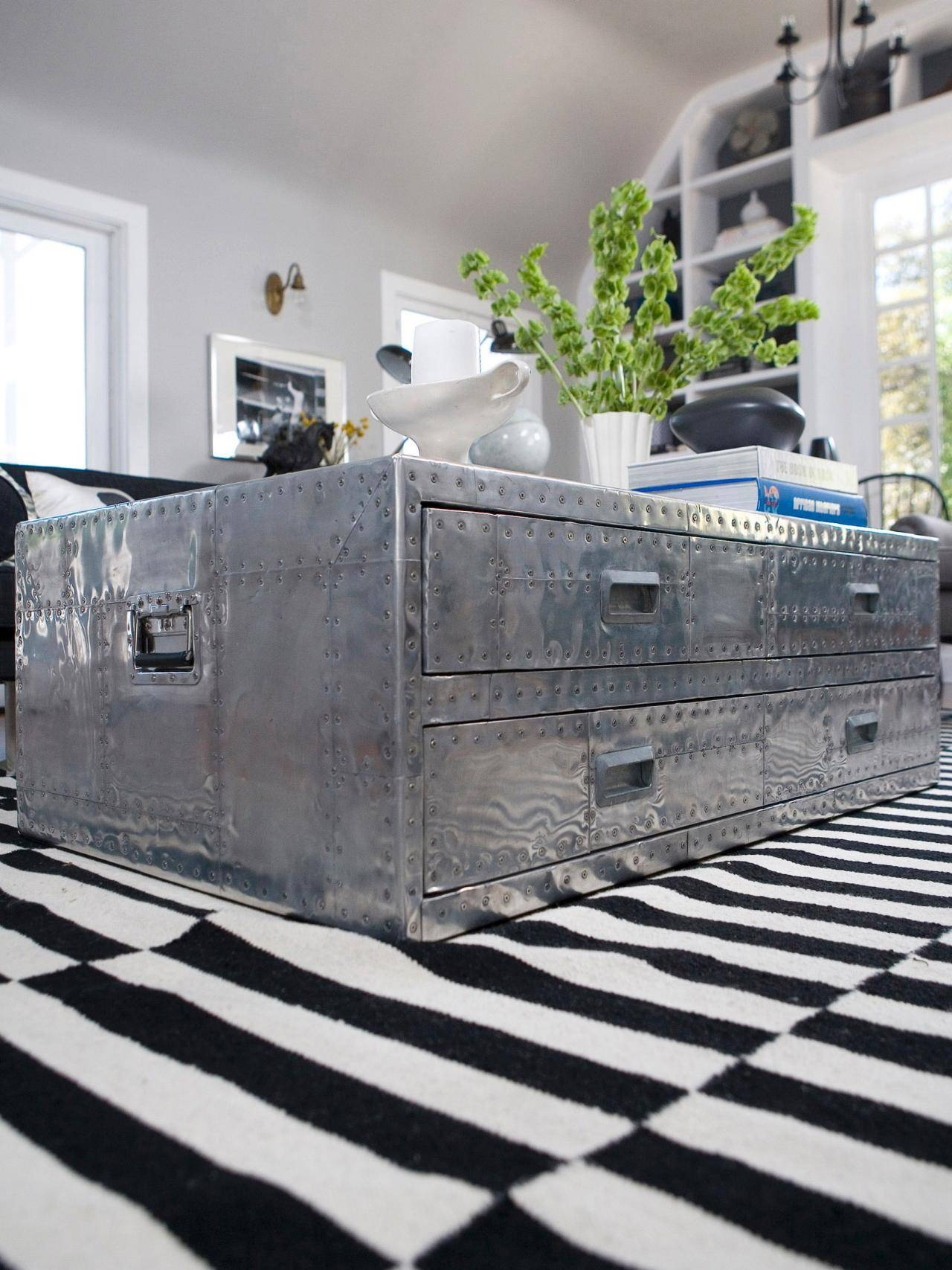 Popular Photo of Steamer Trunk Stainless Steel Coffee Tables