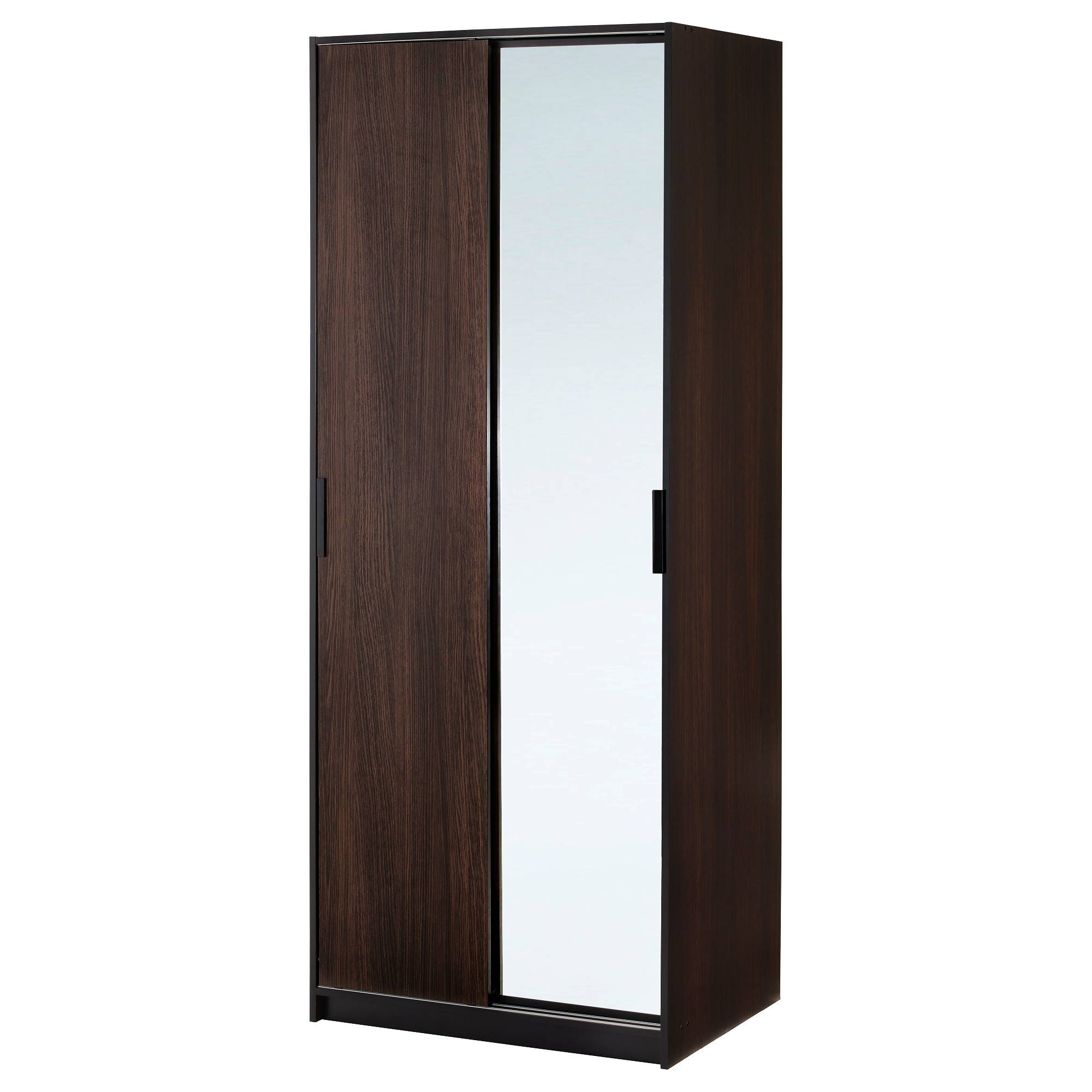Trysil Wardrobe Dark Brown/mirror Glass 79X61X202 Cm – Ikea Throughout Dark Wood Wardrobe With Mirror (View 24 of 30)