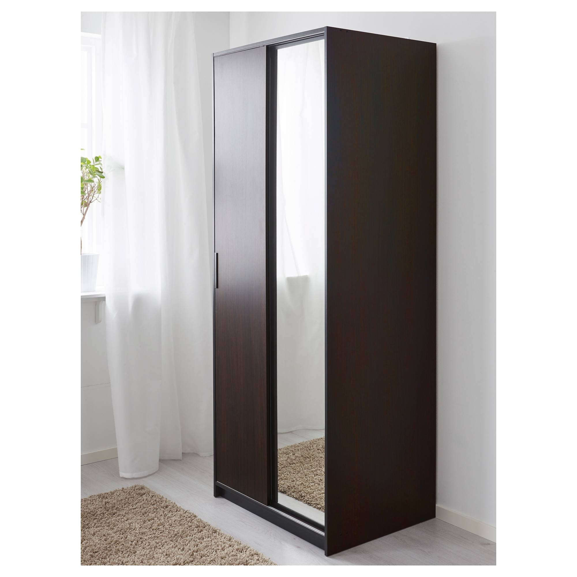 Trysil Wardrobe Dark Brown/mirror Glass 79X61X202 Cm - Ikea within Dark Wood Wardrobe With Mirror (Image 25 of 30)