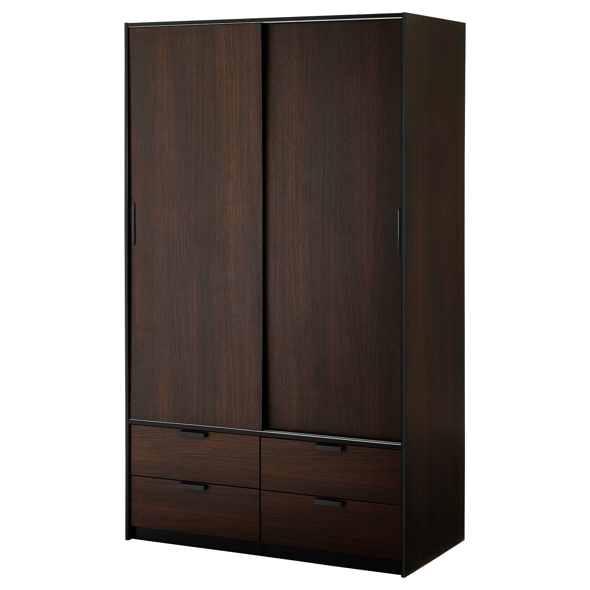 Trysil Wardrobe W Sliding Doors/4 Drawers - Ikea pertaining to Dark Wood Wardrobe Sliding Doors (Image 27 of 30)