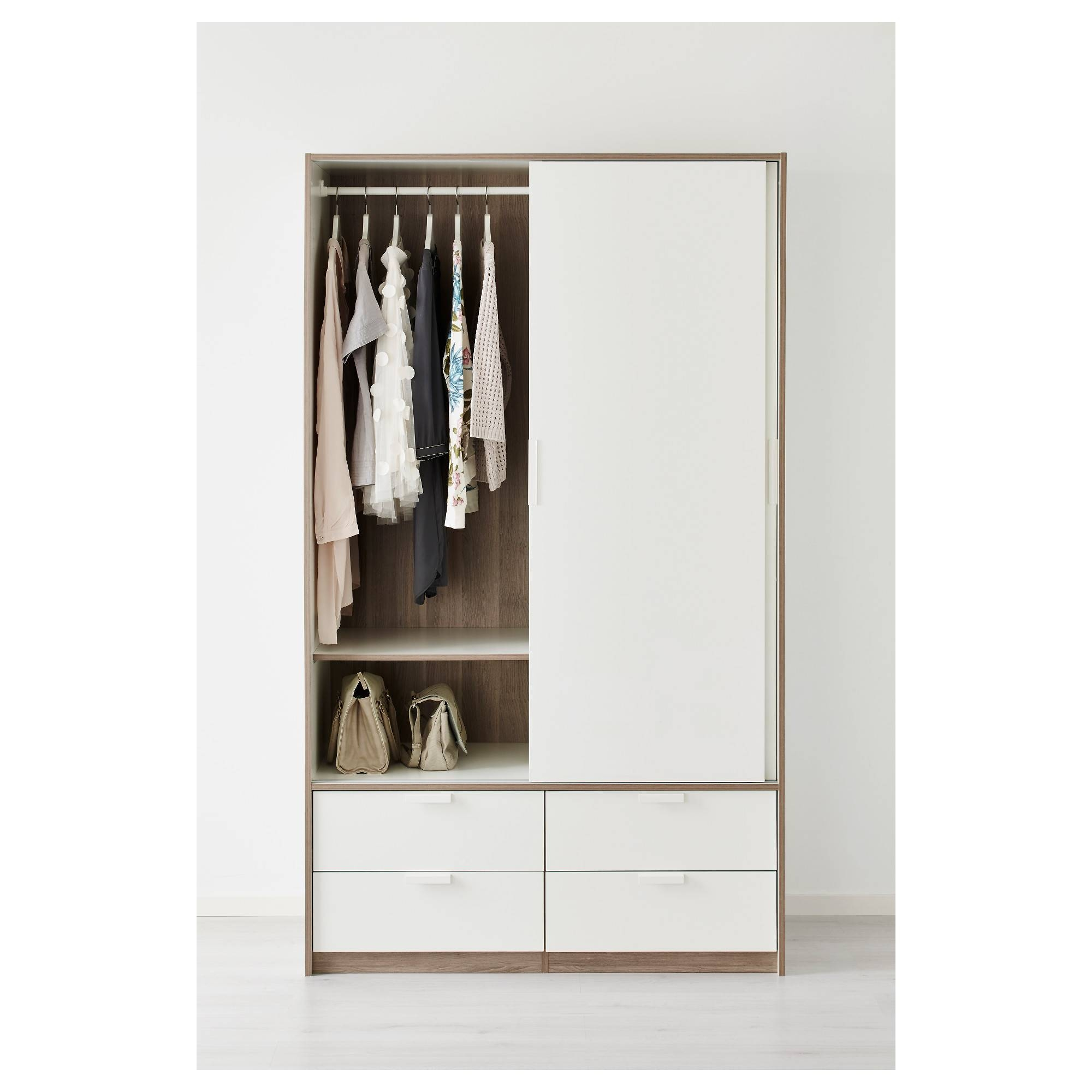 Trysil Wardrobe W Sliding Doors/4 Drawers White 118X61X202 Cm - Ikea for White Wardrobes With Drawers (Image 10 of 15)