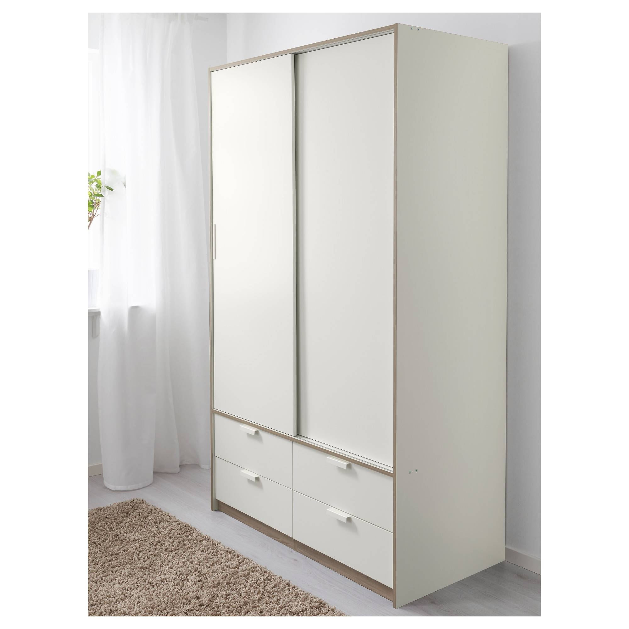 Trysil Wardrobe W Sliding Doors/4 Drawers White 118X61X202 Cm - Ikea intended for 4 Door White Wardrobes (Image 12 of 15)