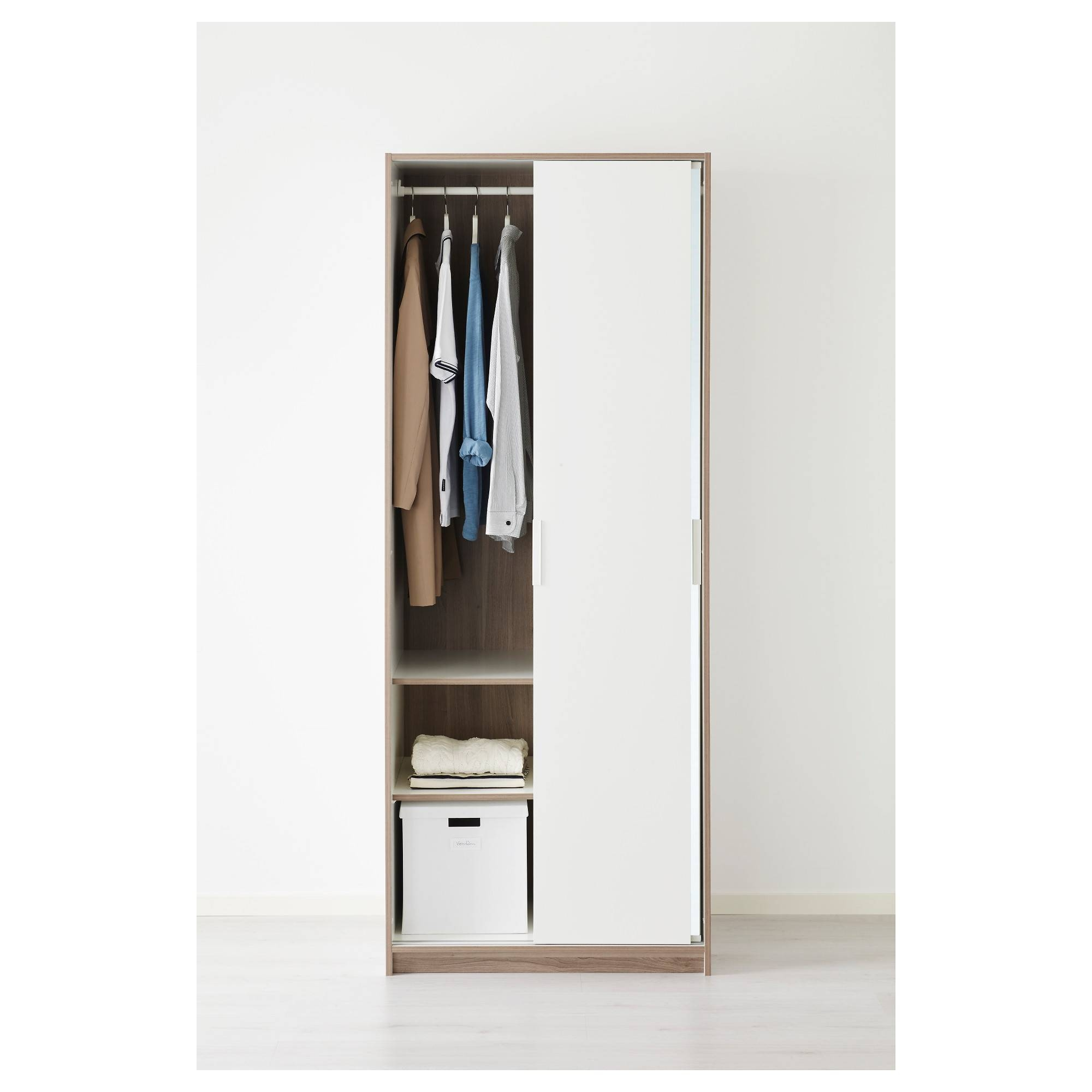 Trysil Wardrobe White/mirror Glass 79X61X202 Cm - Ikea intended for Mirror Wardrobes (Image 13 of 15)