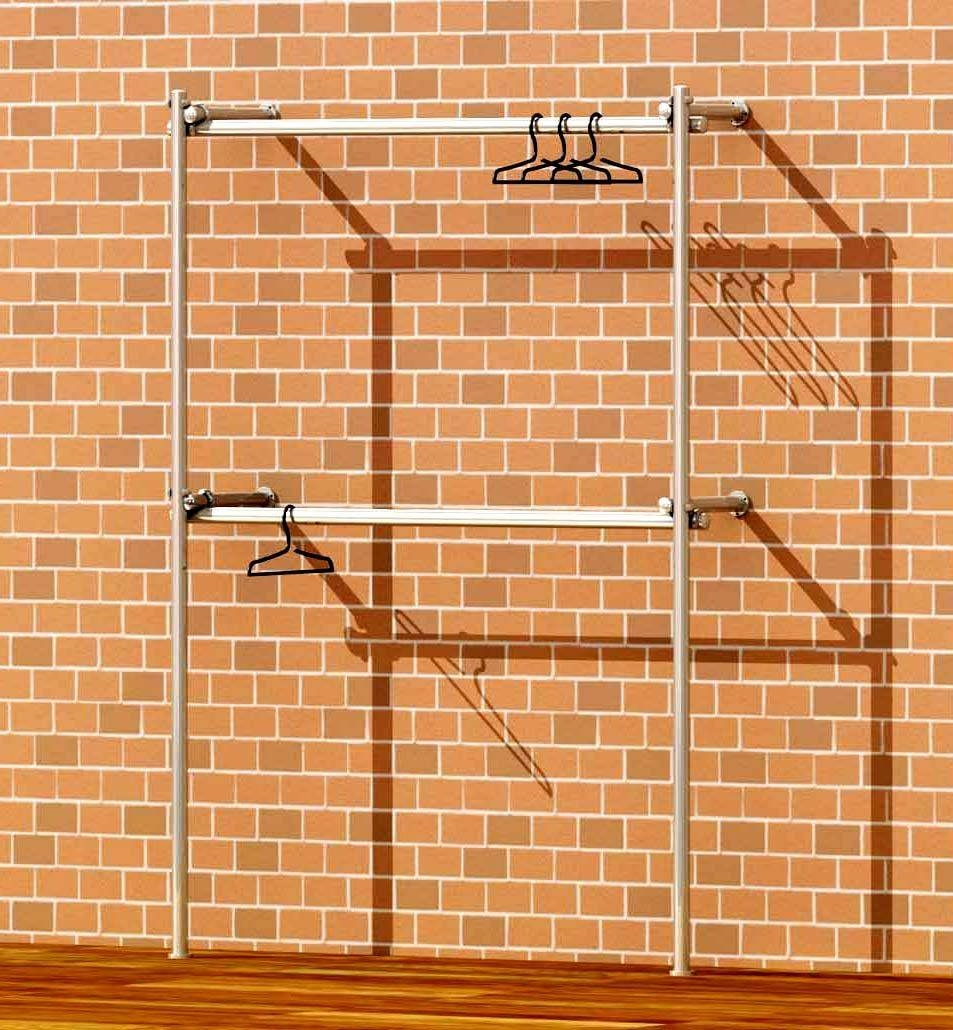 Tube & Clamp Walk In Double Wardrobe Wall Clothes Rack Fashion With Double Hanging Rail Wardrobes (View 27 of 30)