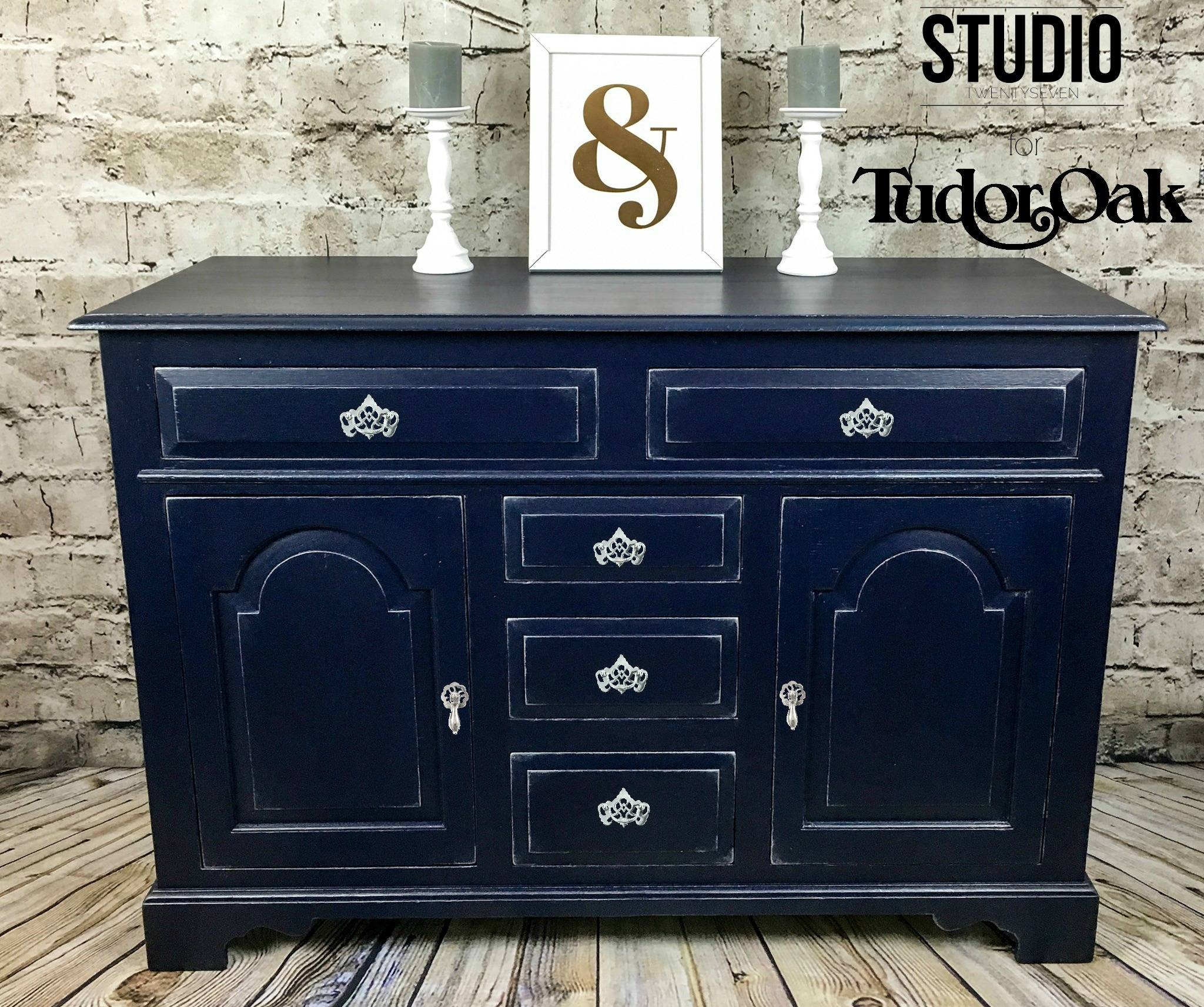 Tudor Oak Navy Purple And Silver Sideboard – Studio27 for Purple Sideboards (Image 28 of 30)