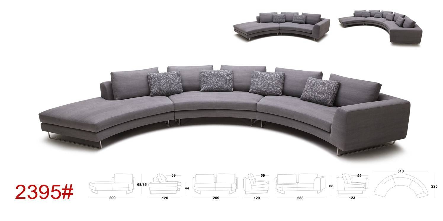 Tulip Modern Rounded Fabric Sectional Sofa within Rounded Sofa (Image 24 of 25)