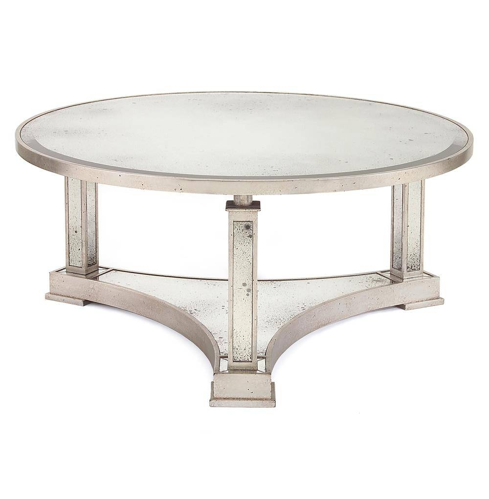 Tully Hollywood Regency Silver Antique Mirror Round Coffee Table within Vintage Mirror Coffee Tables (Image 27 of 30)