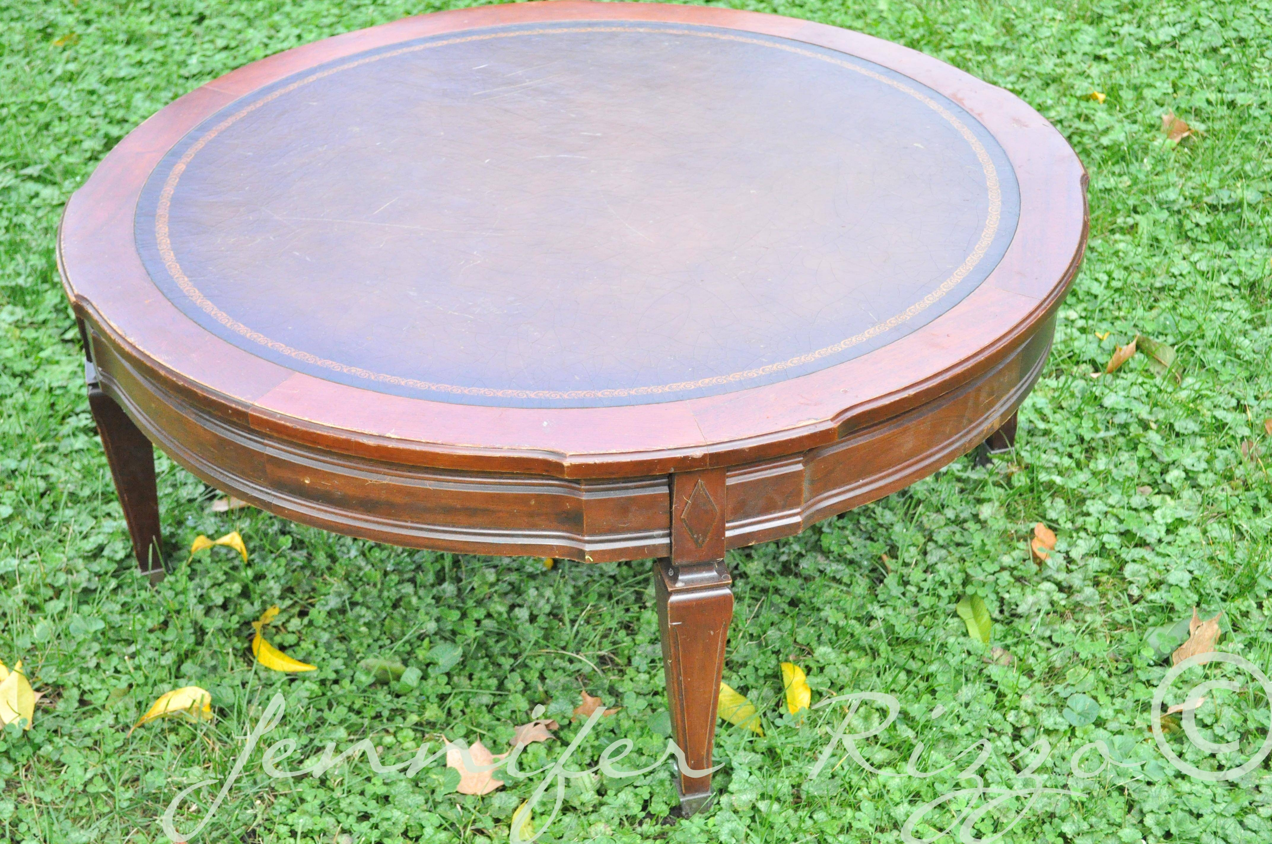 Turn A Vintage Coffee Table Into A Tufted,upholstered Ottoman Throughout Round Upholstered Coffee Tables (View 8 of 30)