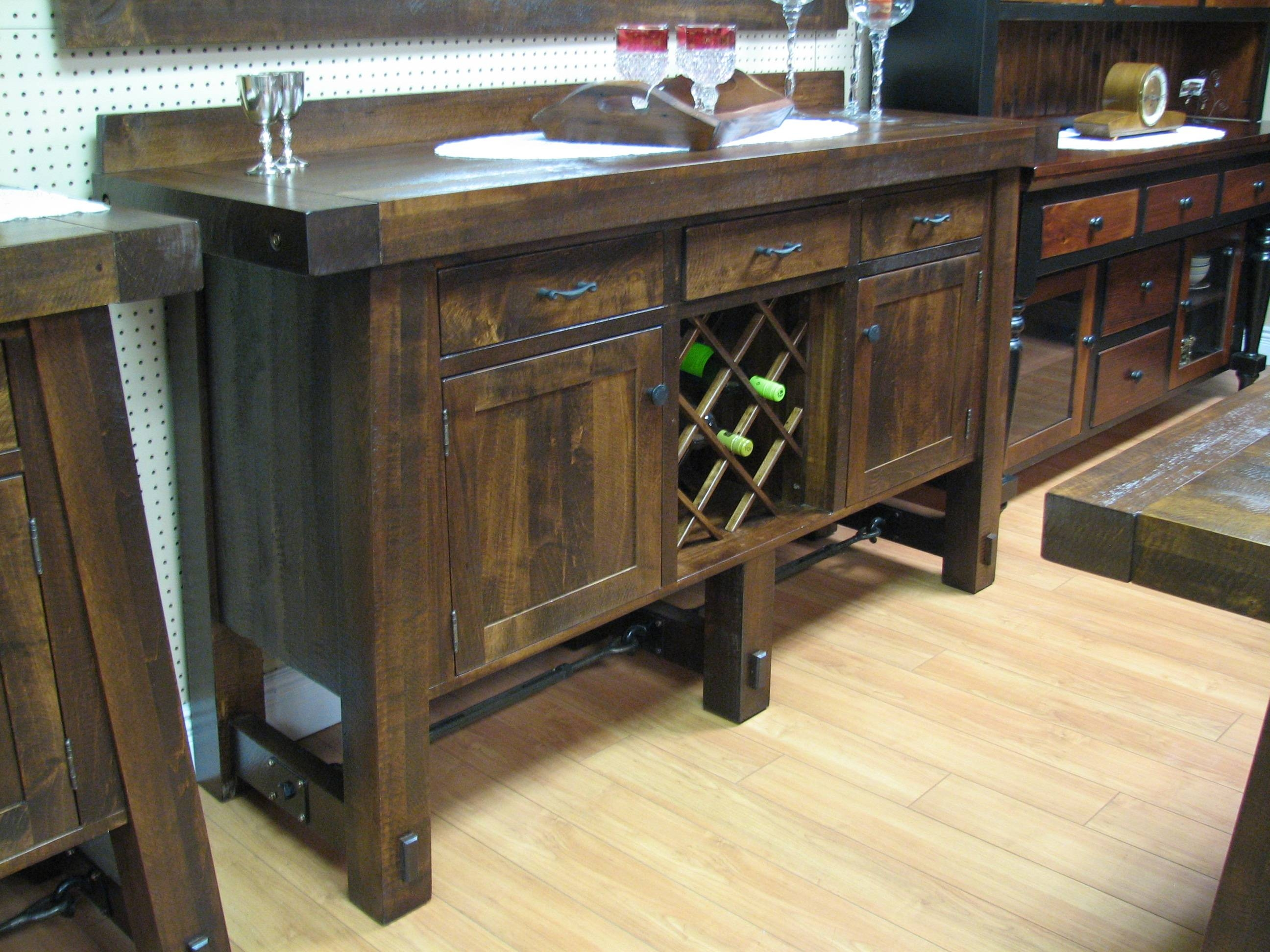 Turnbuckle 70 Inch Sideboard With Wine Rack, Hart's Country for Sideboards With Wine Racks (Image 30 of 30)