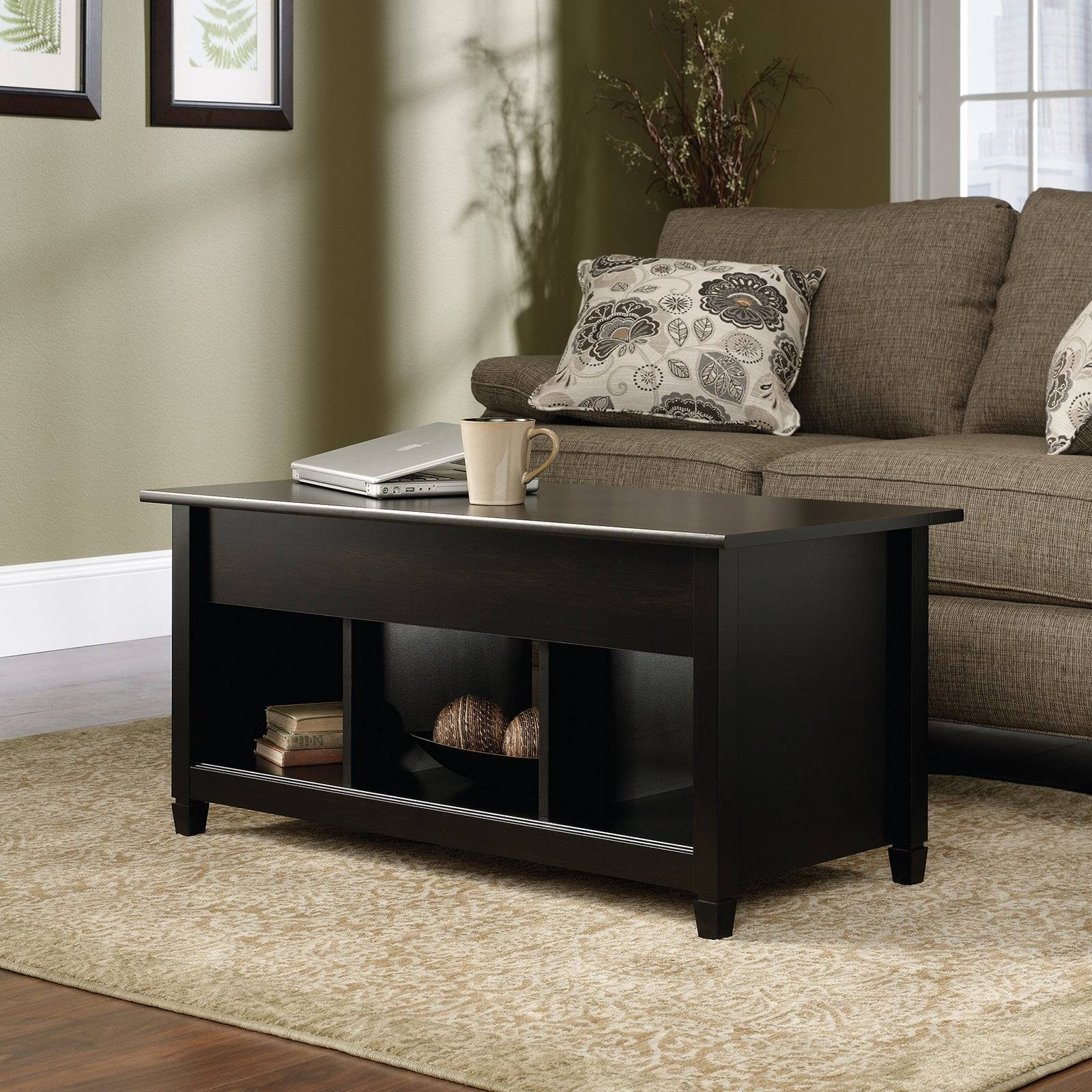 Turner Lift Top Coffee Table - Black | Hayneedle within Desk Coffee Tables (Image 29 of 30)