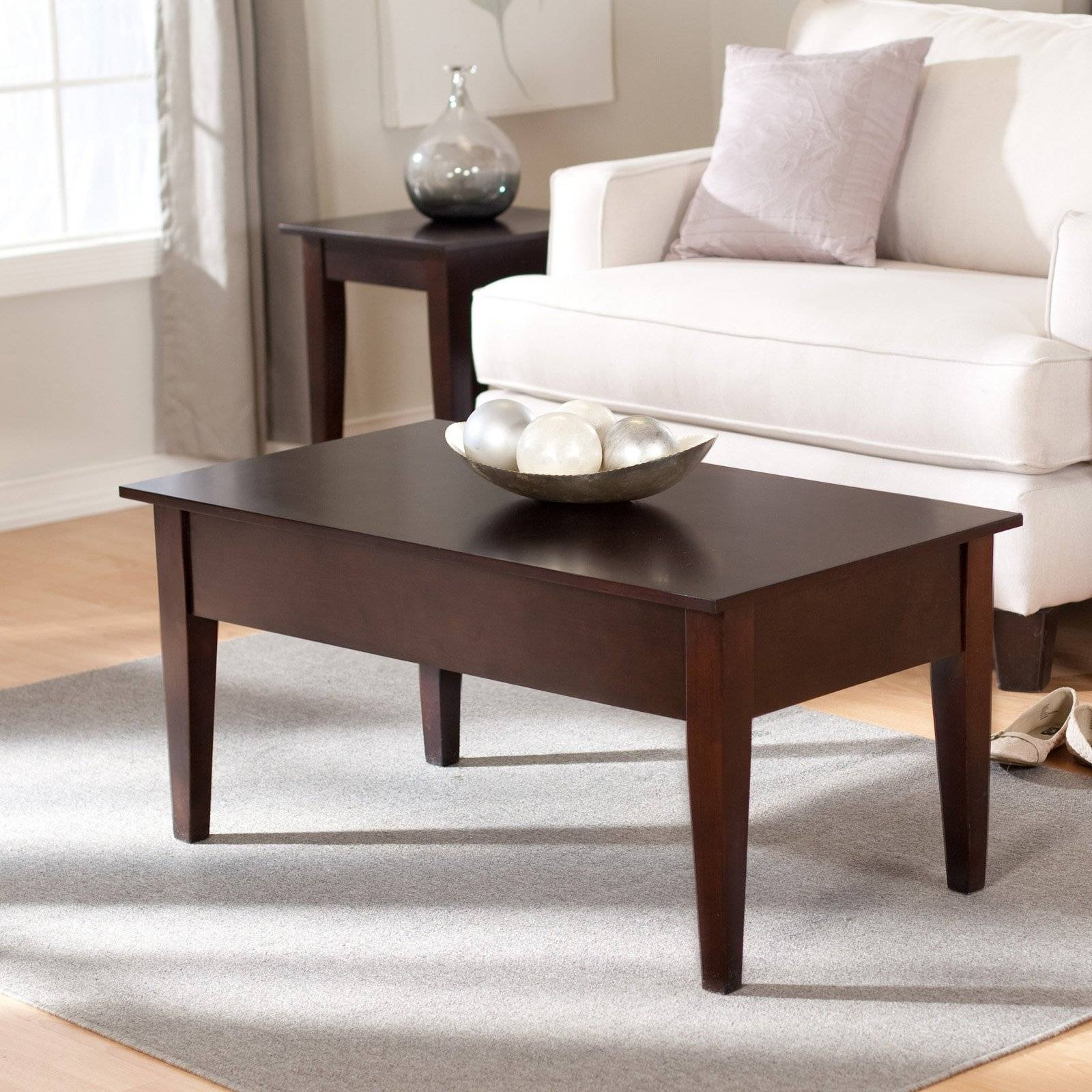 Turner Lift Top Coffee Table - Espresso | Hayneedle for White And Brown Coffee Tables (Image 30 of 30)