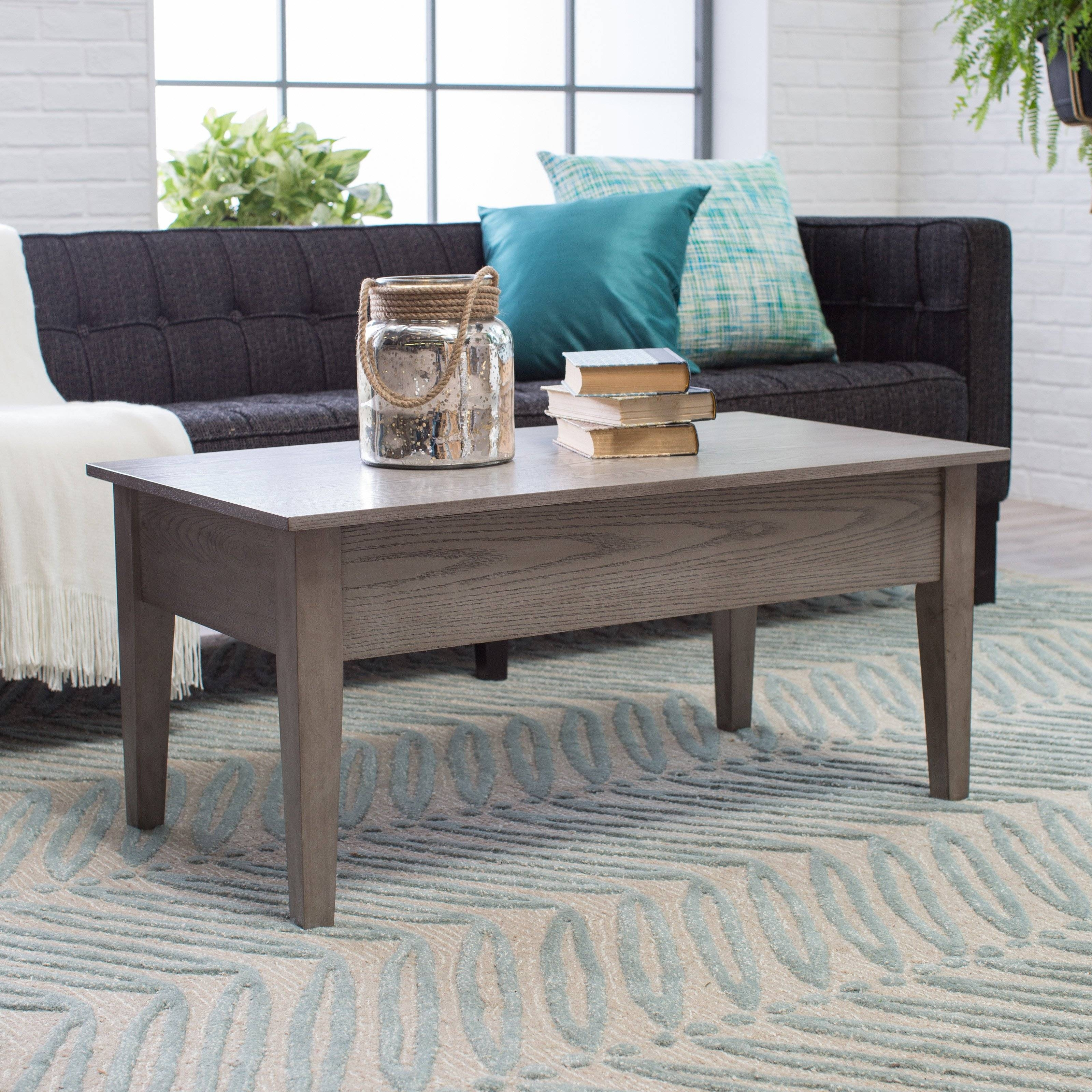 Turner Lift Top Coffee Table - Gray | Hayneedle within Grey Wood Coffee Tables (Image 30 of 30)