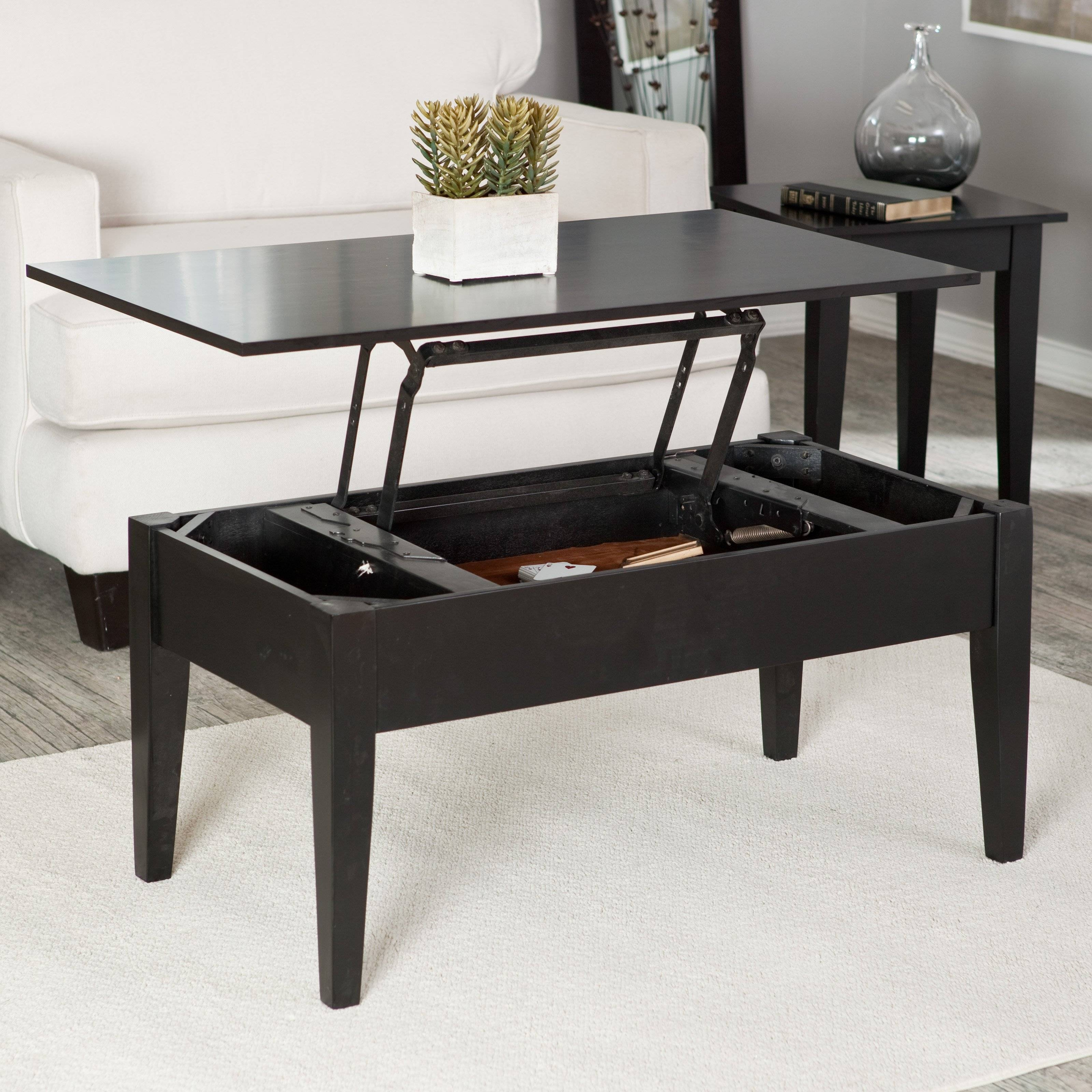 Turner Lift Top Coffee Table - Oak | Hayneedle regarding White and Black Coffee Tables (Image 27 of 30)
