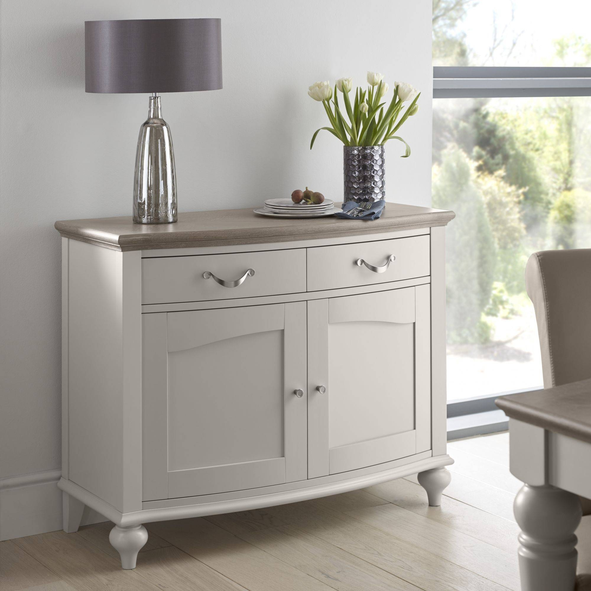 Tuscany Grey Washed Oak & Soft Grey Narrow Sideboard within Tuscany Sideboards (Image 21 of 30)