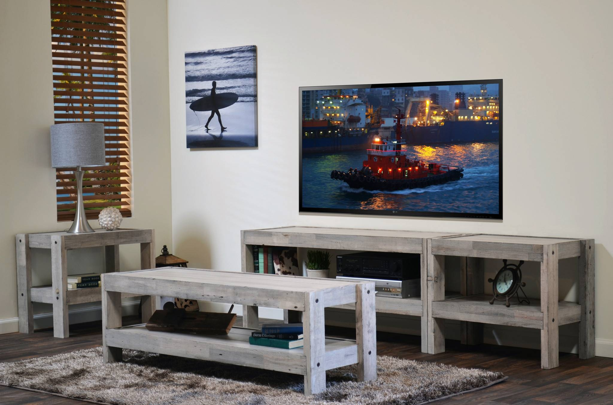 Tv Stands. Amusing Beachy Tv Stand 2017 Ideas: Beachy-Tv-Stand intended for Rustic Coffee Tables And Tv Stands (Image 24 of 30)